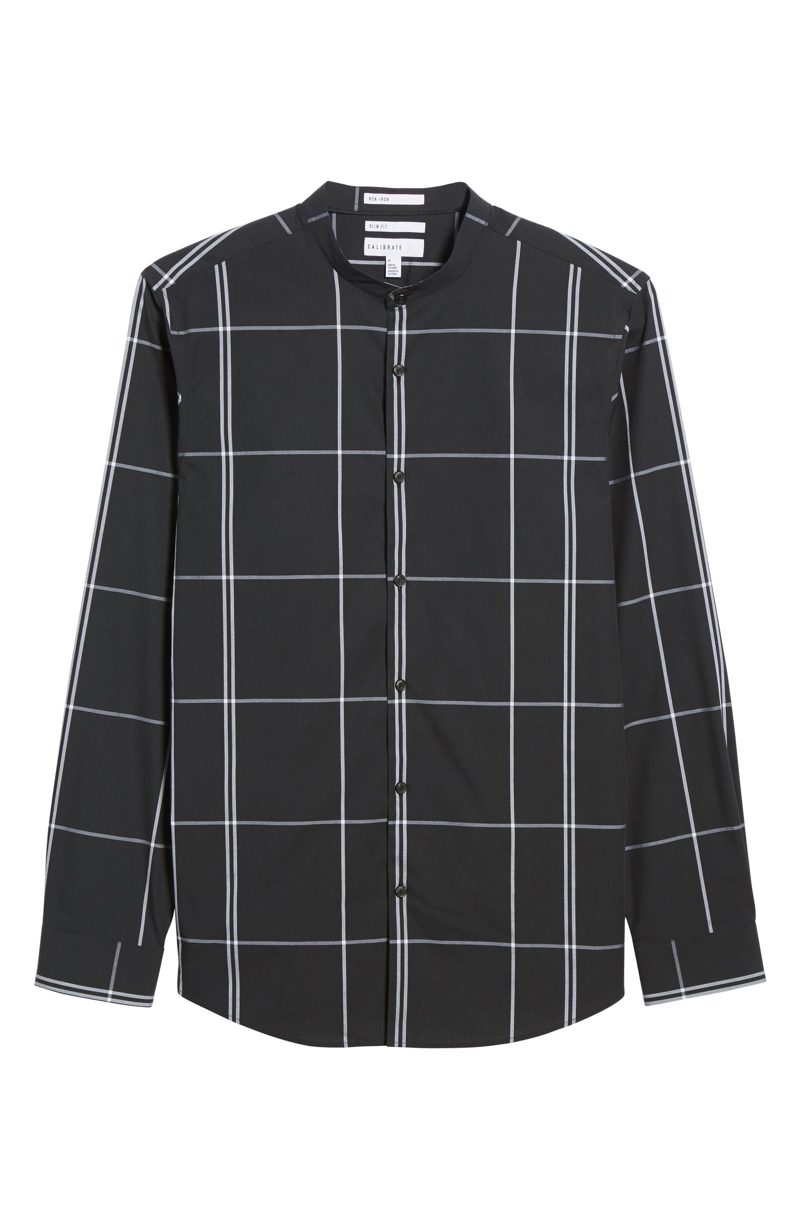 Trim Fit Windowpane Sport Shirt,                             Alternate thumbnail 6, color,                             Black Exploded Pane