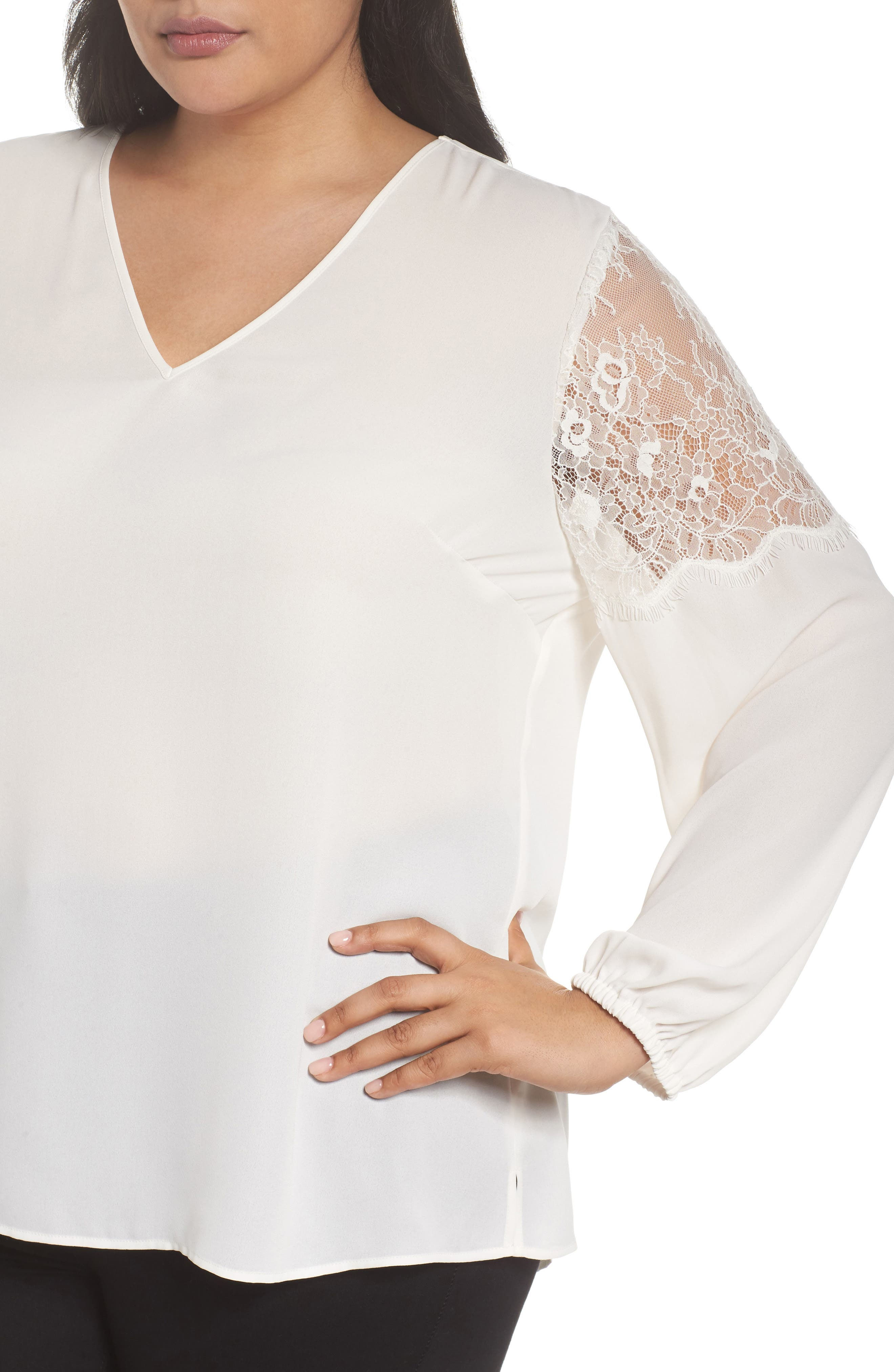 Lace Inset Sleeve Top,                             Alternate thumbnail 4, color,                             Ivory Cloud