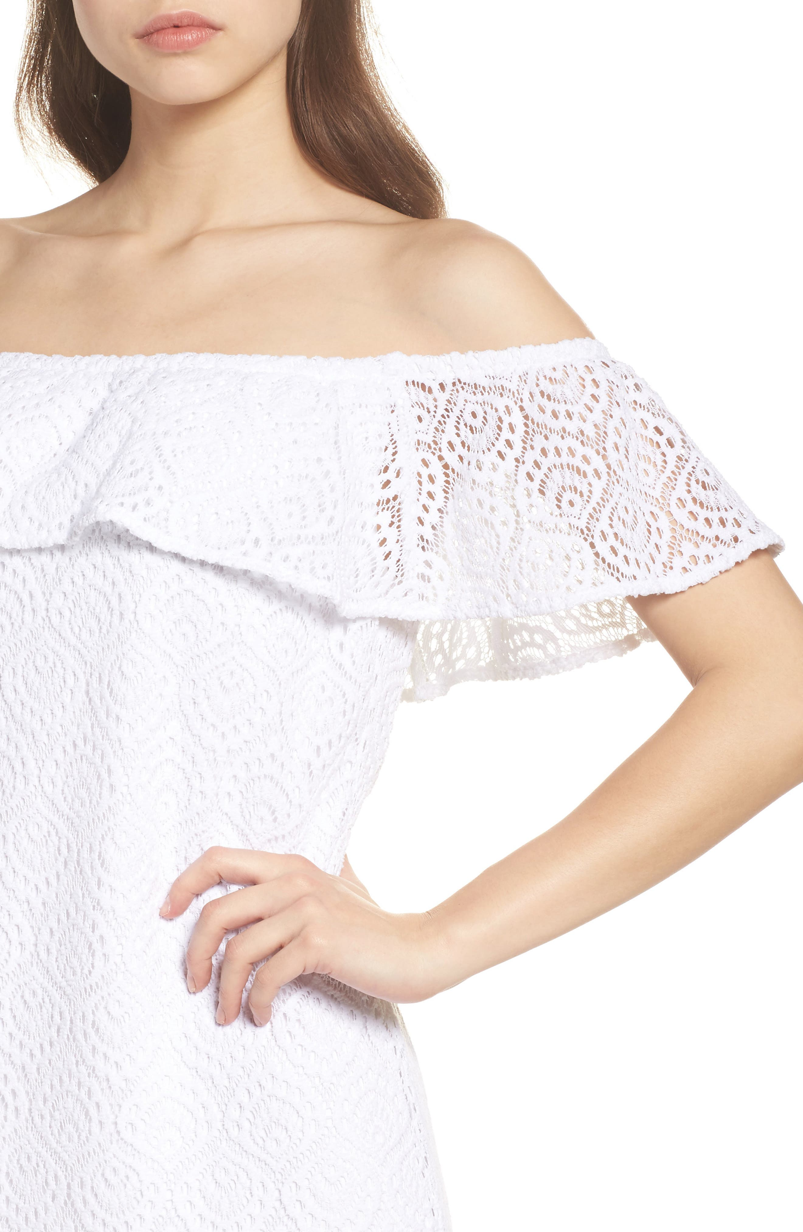 La Fortuna Off the Shoulder Lace Dress,                             Alternate thumbnail 4, color,                             Resort White Gypsea Lace