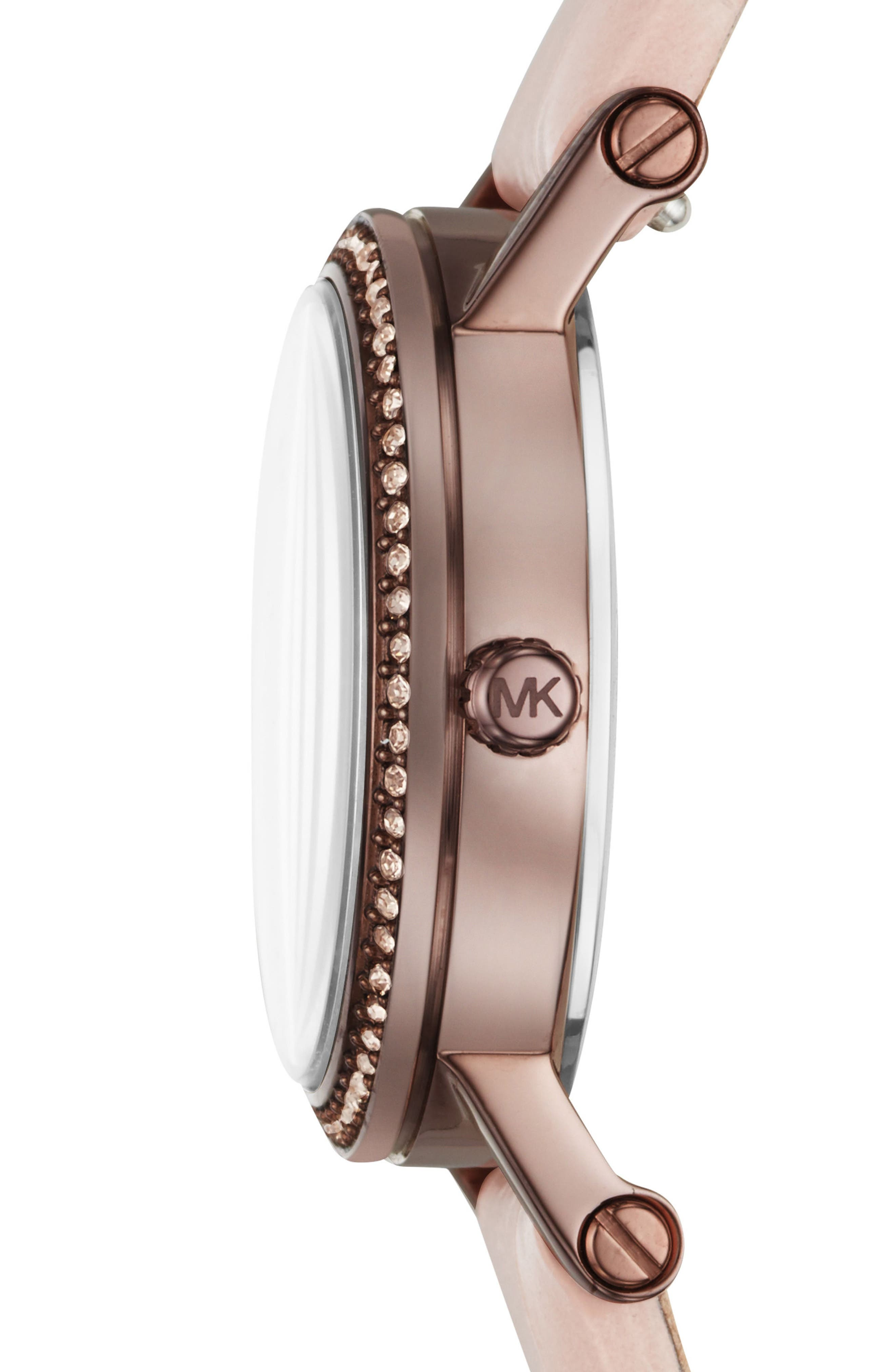 Norie Crystal Leather Strap Watch, 28mm,                             Alternate thumbnail 2, color,                             Pink/ Rose Gold/ Brown
