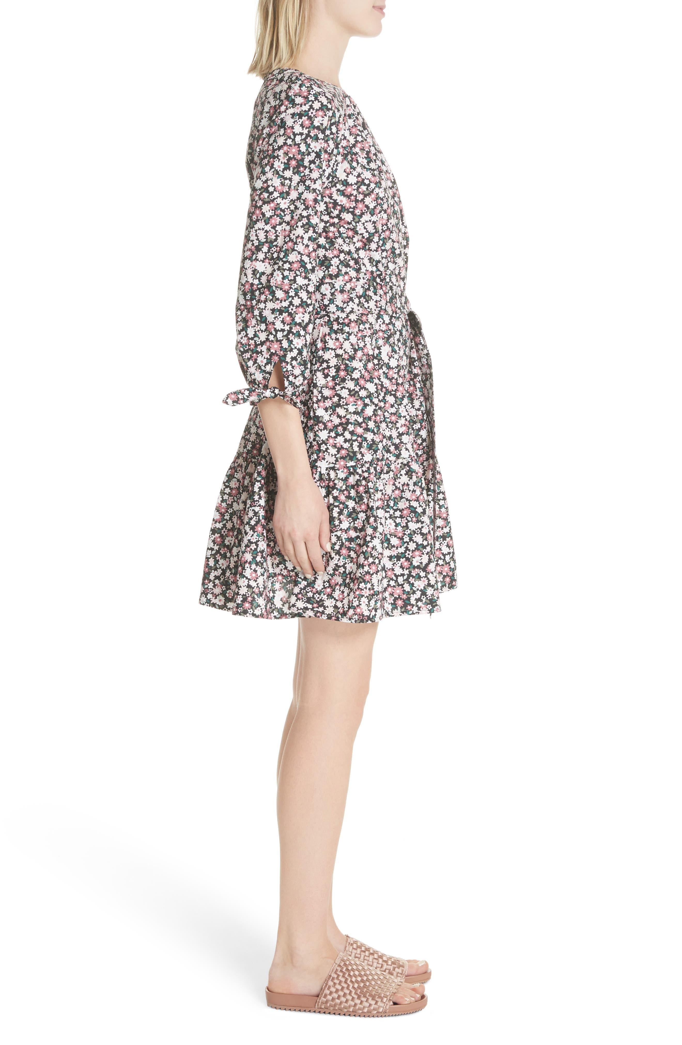 wildflower poplin dress,                             Alternate thumbnail 3, color,                             Black