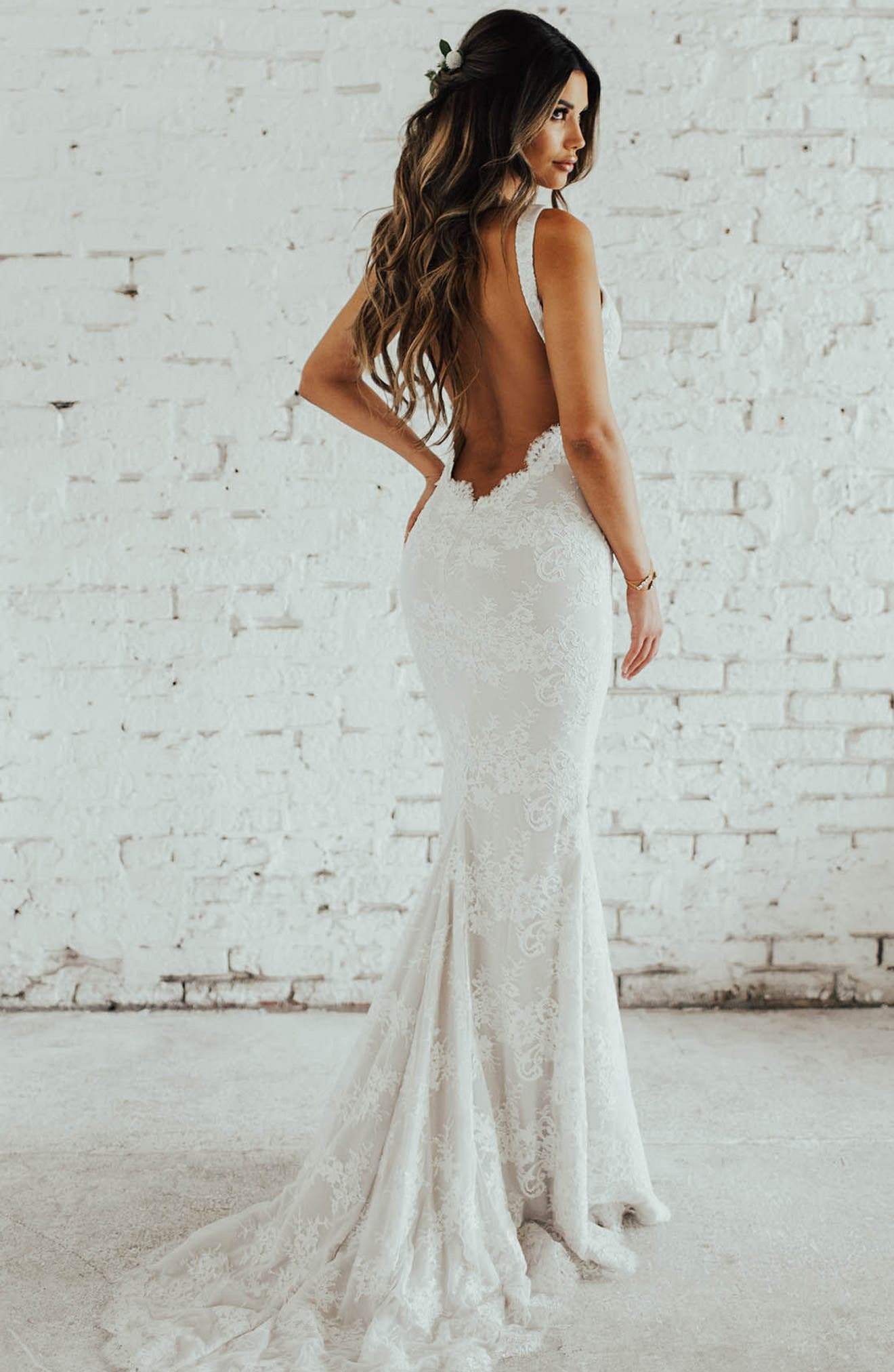 Oslo Chantilly Lace Mermaid Gown,                             Alternate thumbnail 2, color,                             Ivory/ Nude