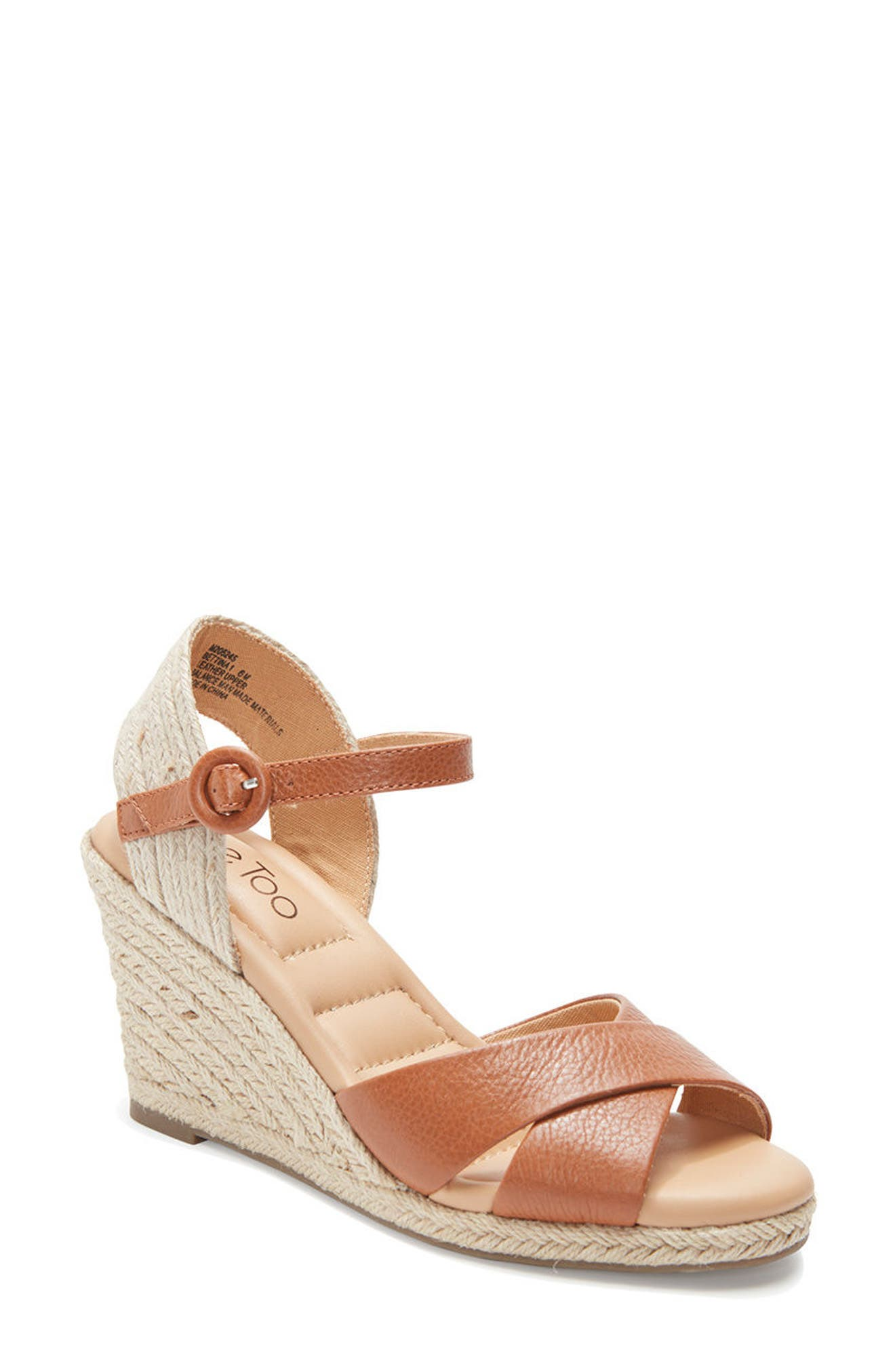 Bettina Espadrille Wedge Sandal,                         Main,                         color, New Luggage Leather