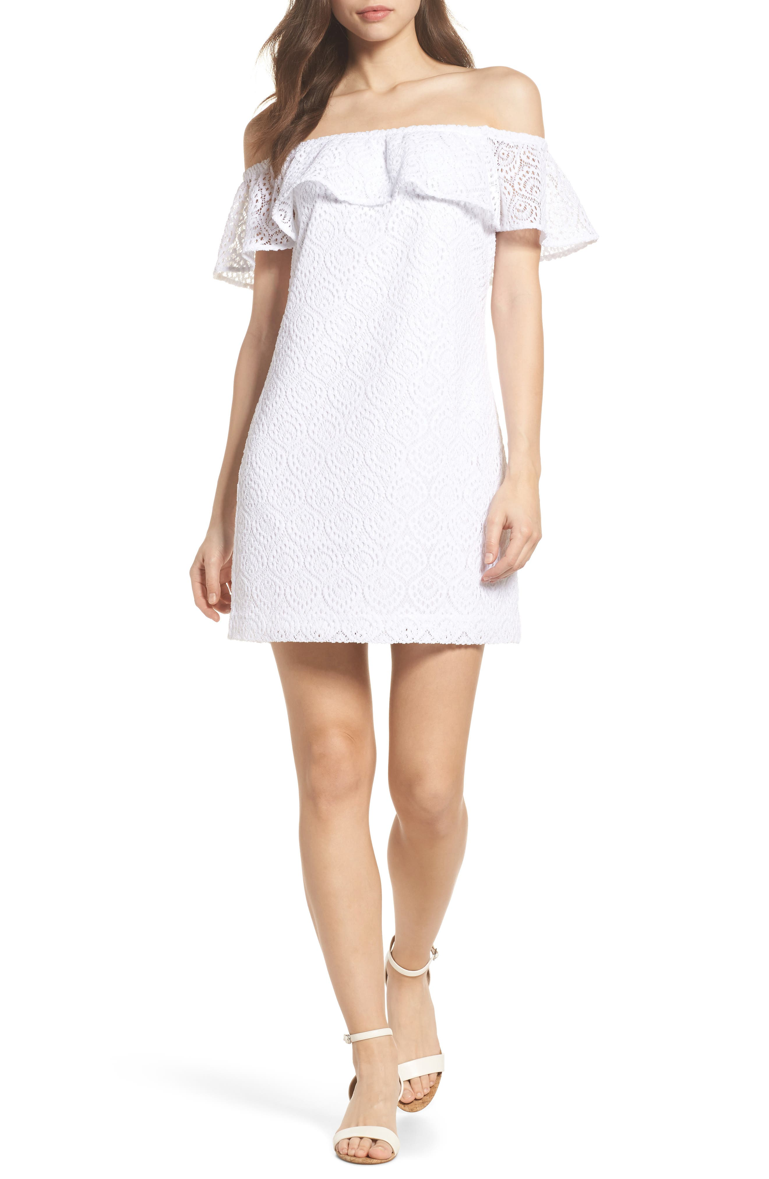 Lilly Pulitzer® La Fortuna Off the Shoulder Lace Dress