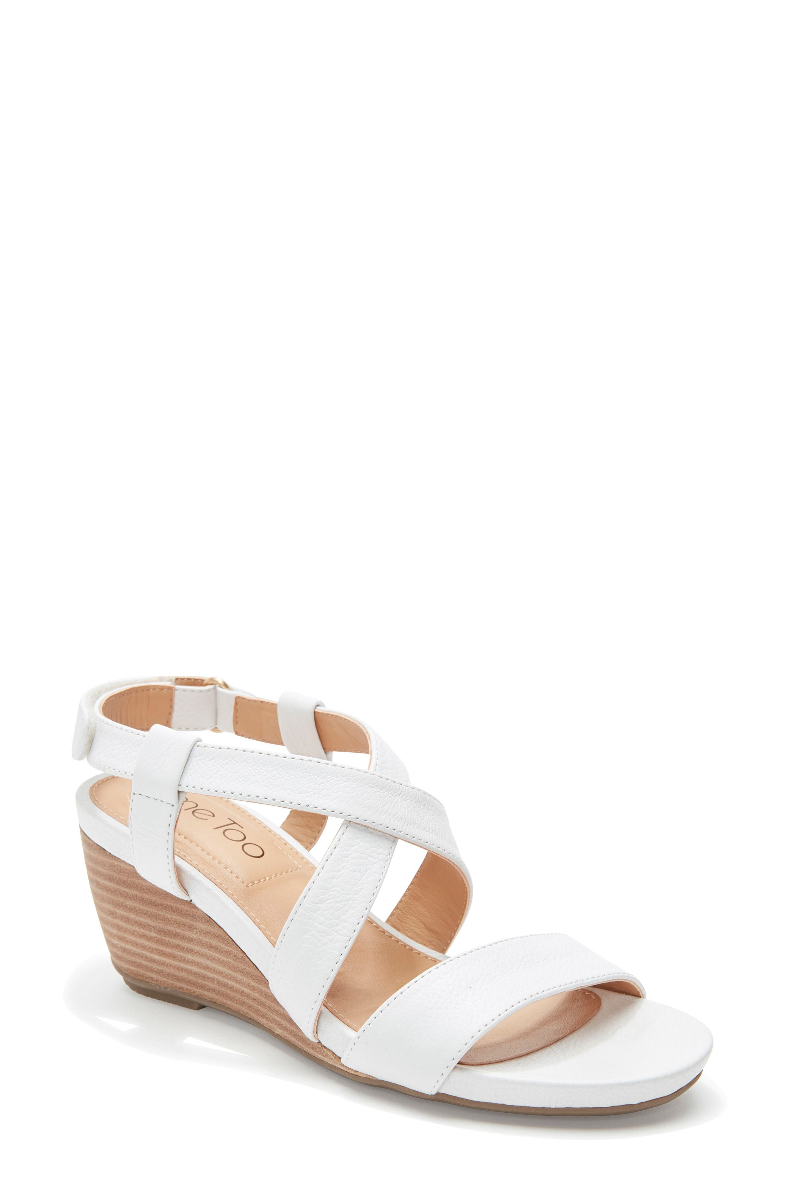 Payton Strappy Wedge,                         Main,                         color, White Leather