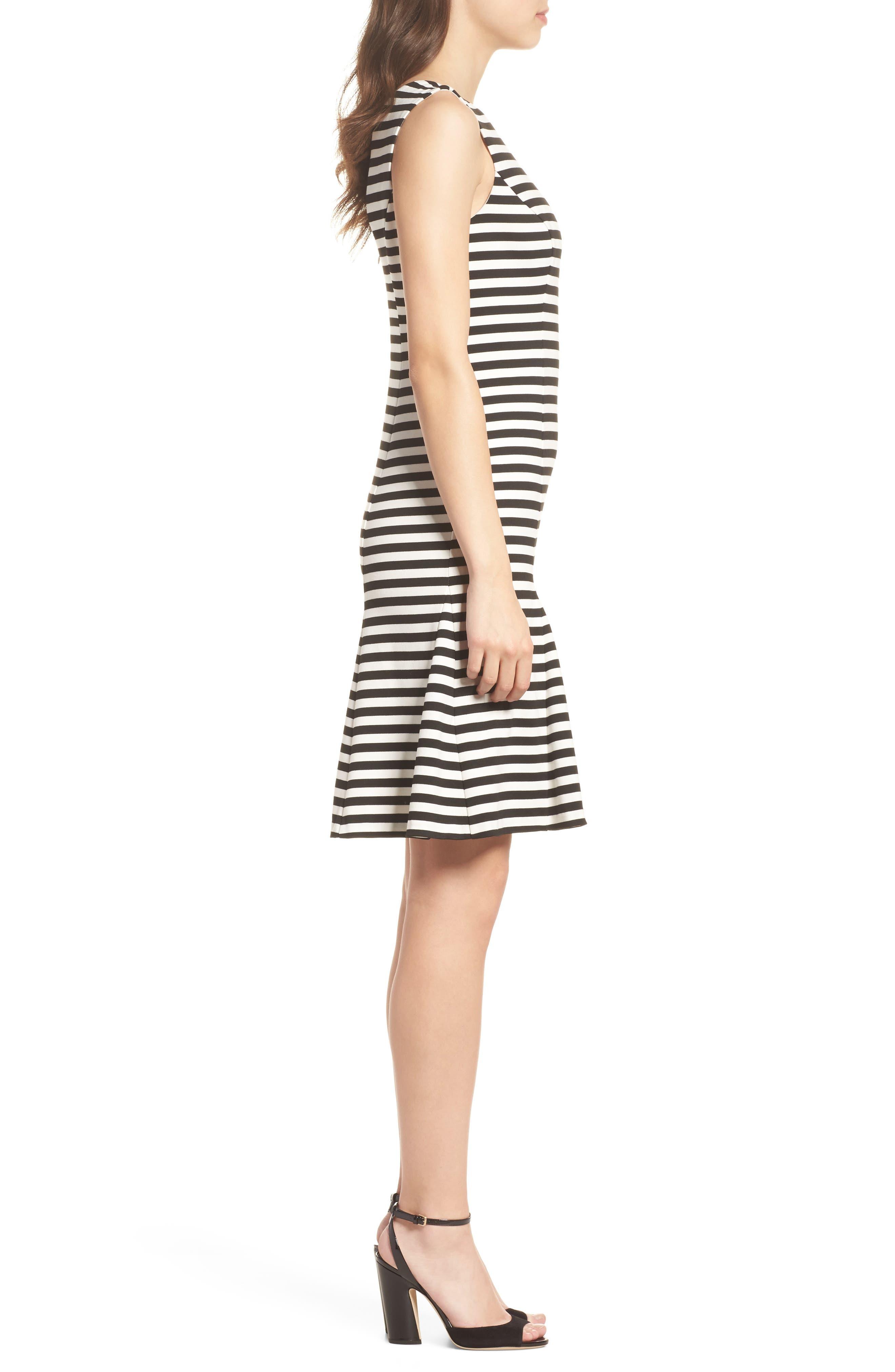Stripe Scuba Crepe Fit & Flare Dress,                             Alternate thumbnail 3, color,                             Black/ Ivory
