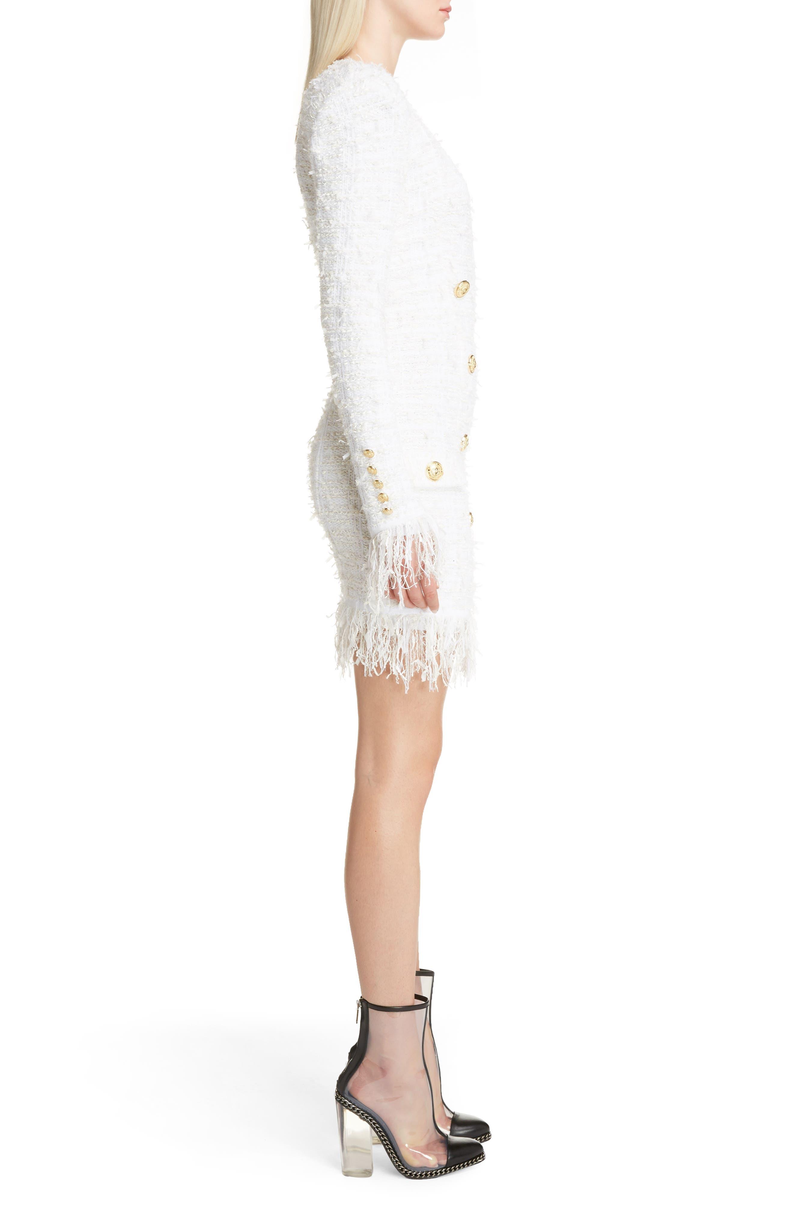 Fringe Tweed Dress,                             Alternate thumbnail 3, color,                             White