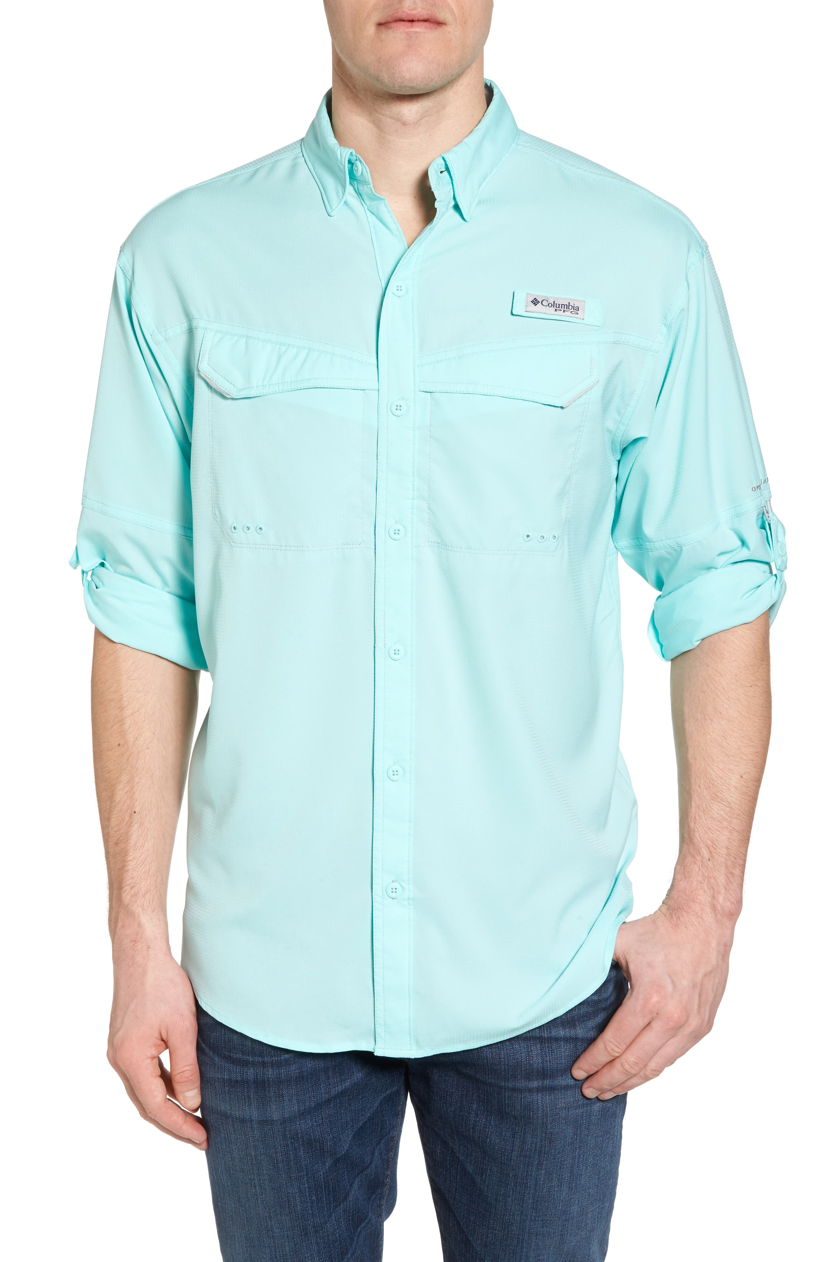 Low Drag Offshore Woven Shirt,                             Main thumbnail 1, color,                             Vivid Blue