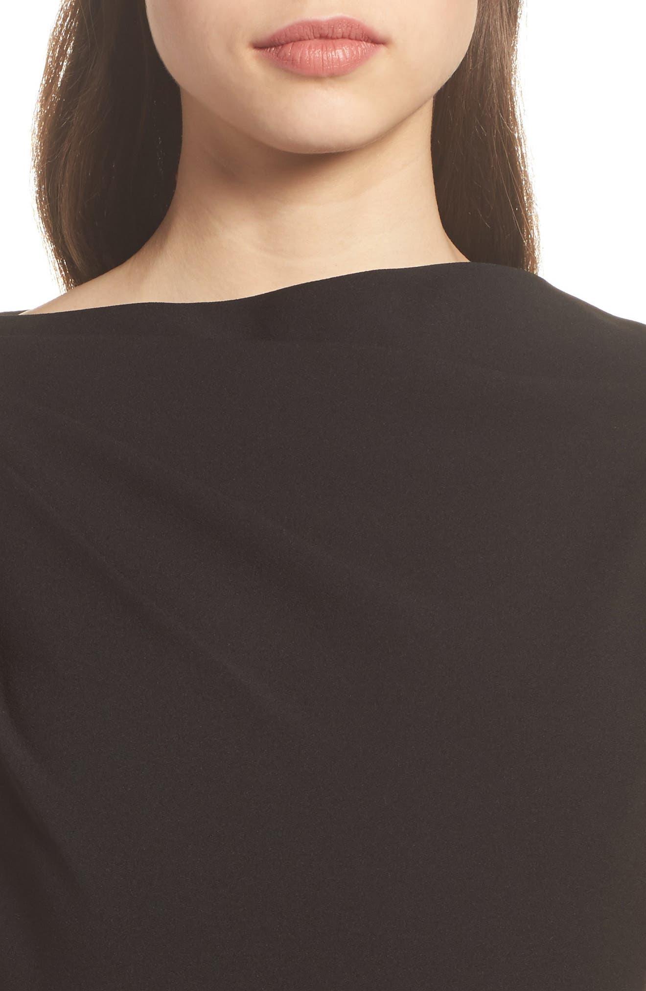 High Neck Sheath Dress,                             Alternate thumbnail 4, color,                             Black