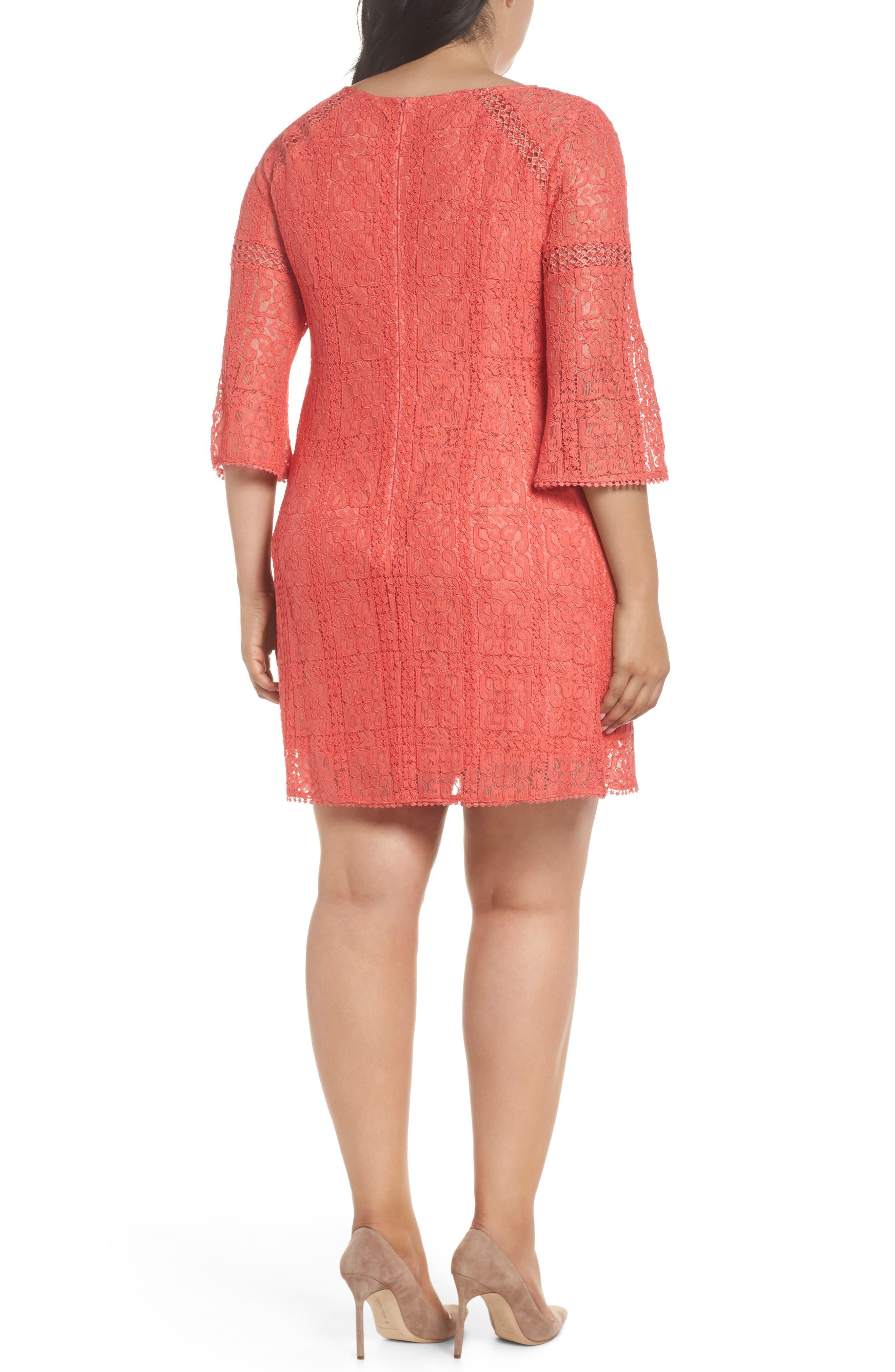 Marni Lace Shift Dress,                             Alternate thumbnail 2, color,                             Cruise Coral