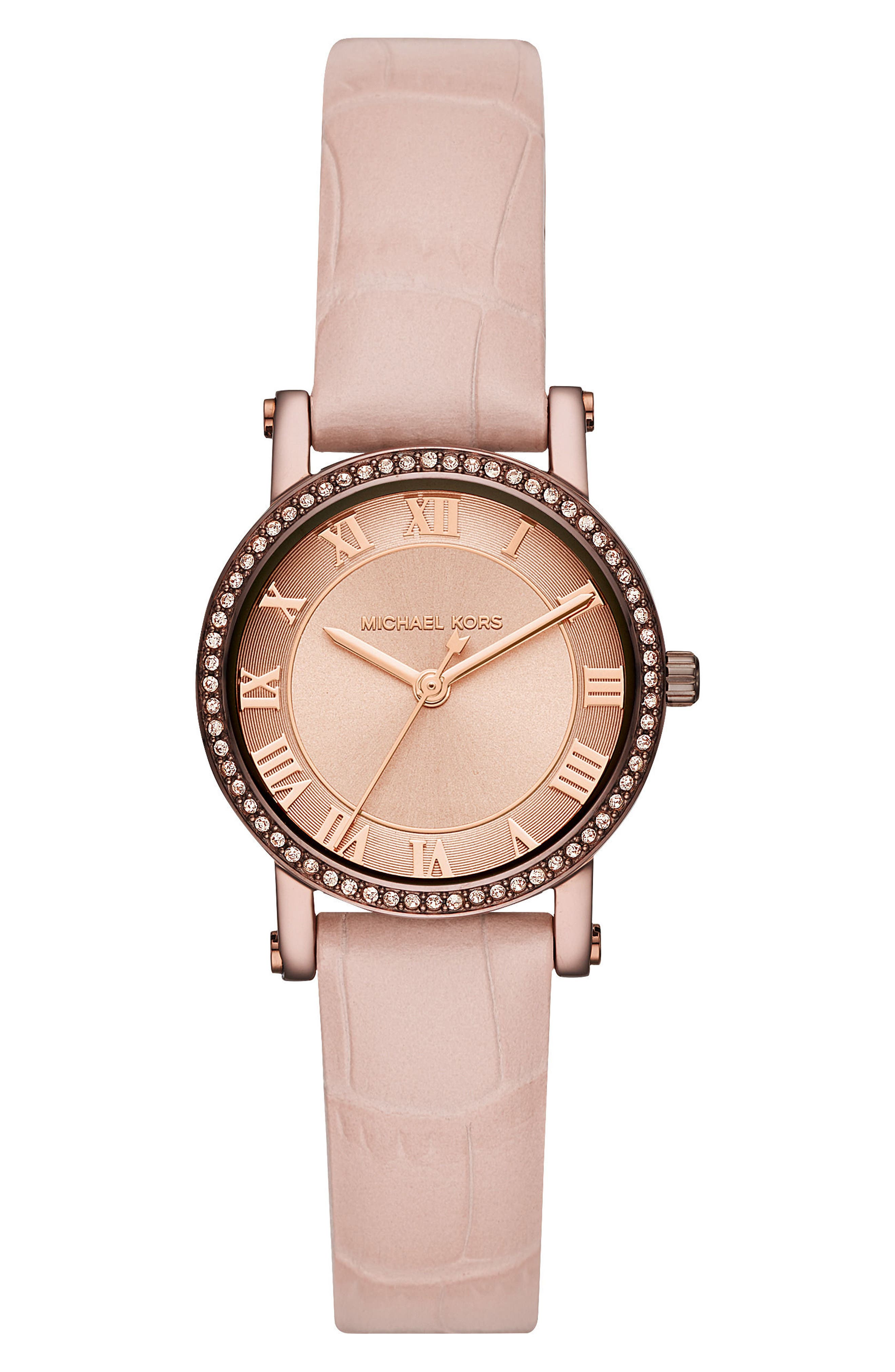 Norie Crystal Leather Strap Watch, 28mm,                             Main thumbnail 1, color,                             Pink/ Rose Gold/ Brown