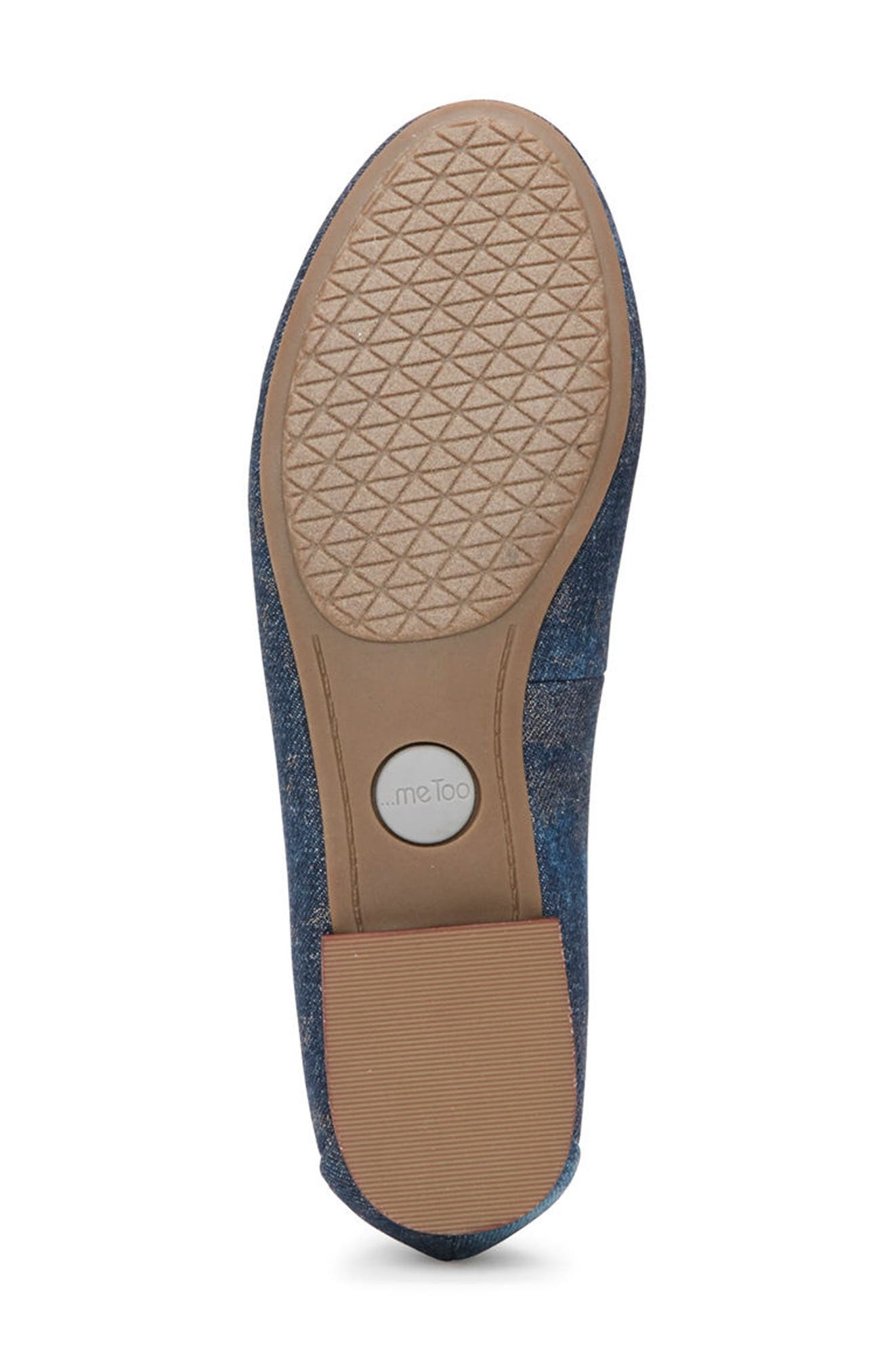 Sapphire Crystal Embellished Flat,                             Alternate thumbnail 6, color,                             Blue Champagne Denim Fabric