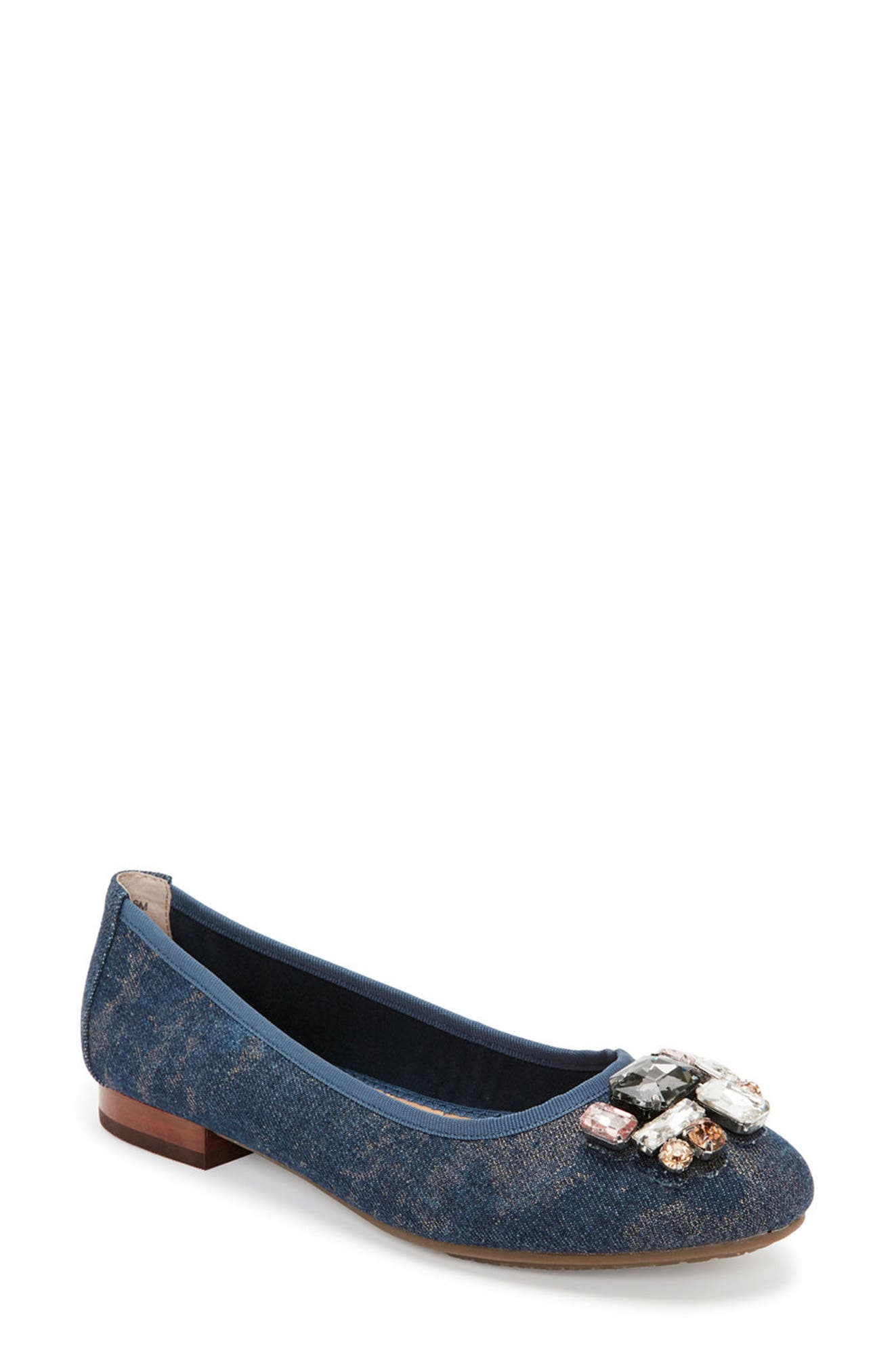 Sapphire Crystal Embellished Flat,                             Main thumbnail 1, color,                             Blue Champagne Denim Fabric