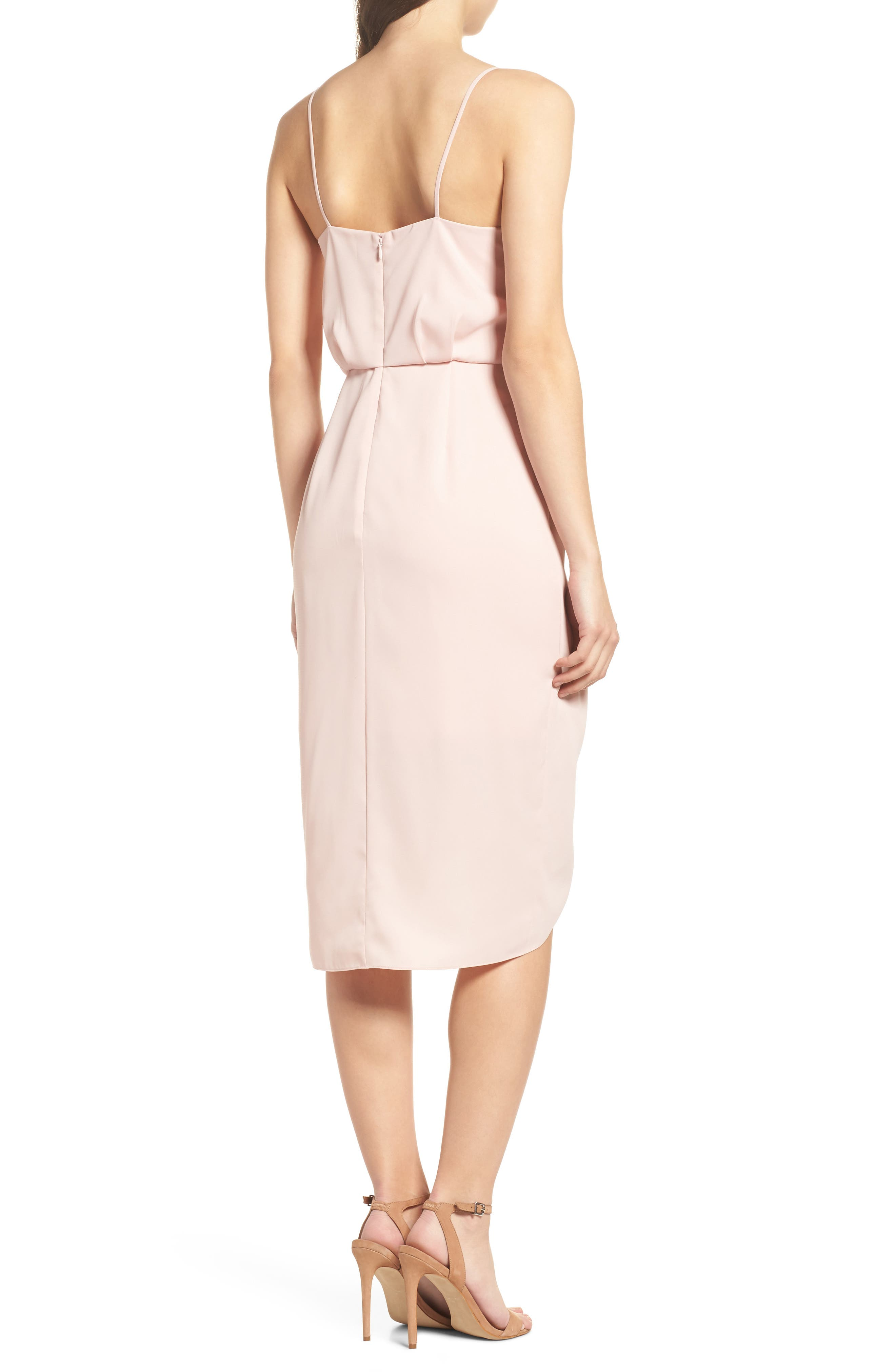Print Faux Wrap Dress,                             Alternate thumbnail 2, color,                             Pink Peach