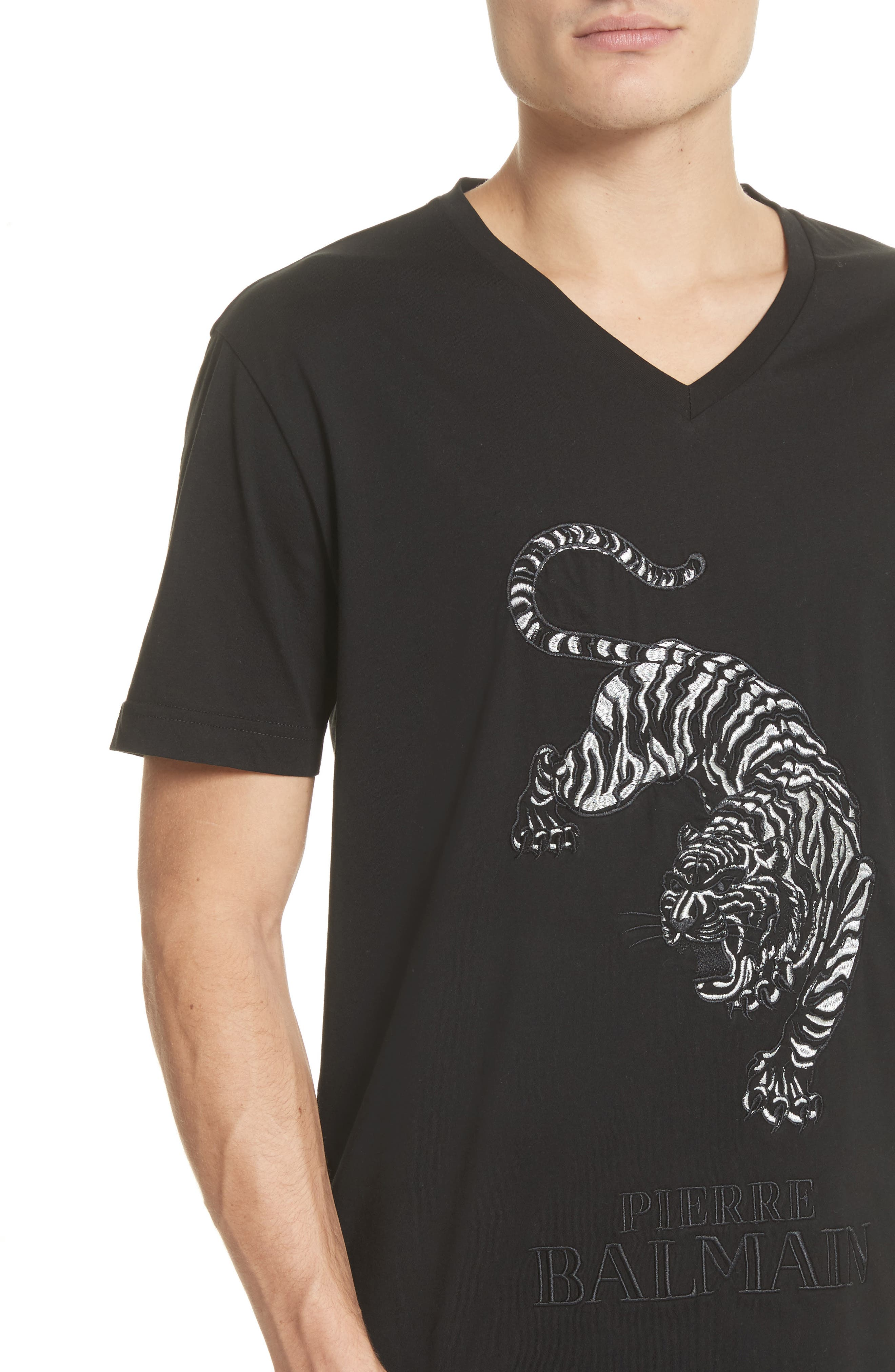 Embroidered Tiger T-Shirt,                             Alternate thumbnail 4, color,                             Black