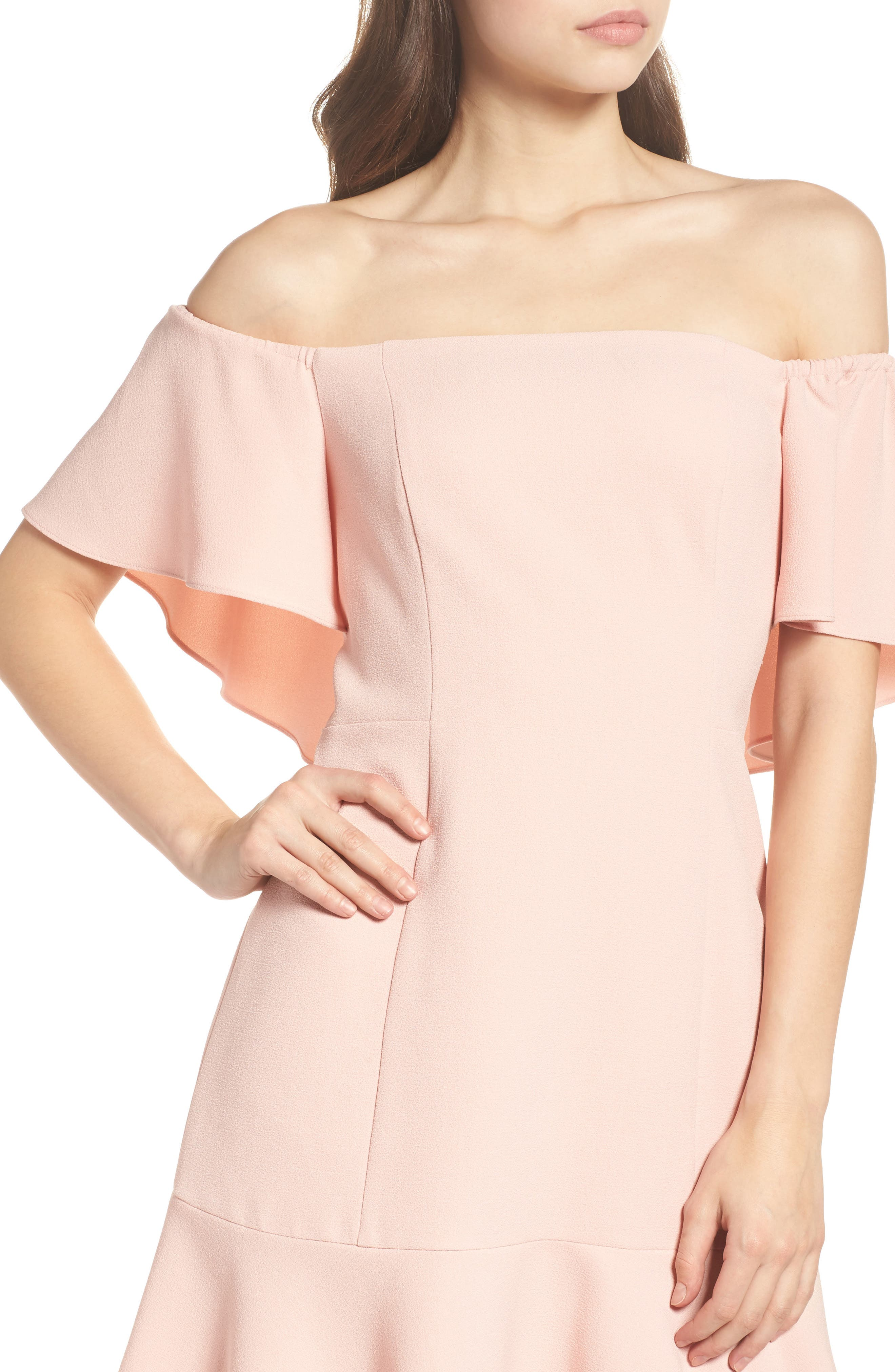 Off the Shoulder Dress,                             Alternate thumbnail 4, color,                             Blush