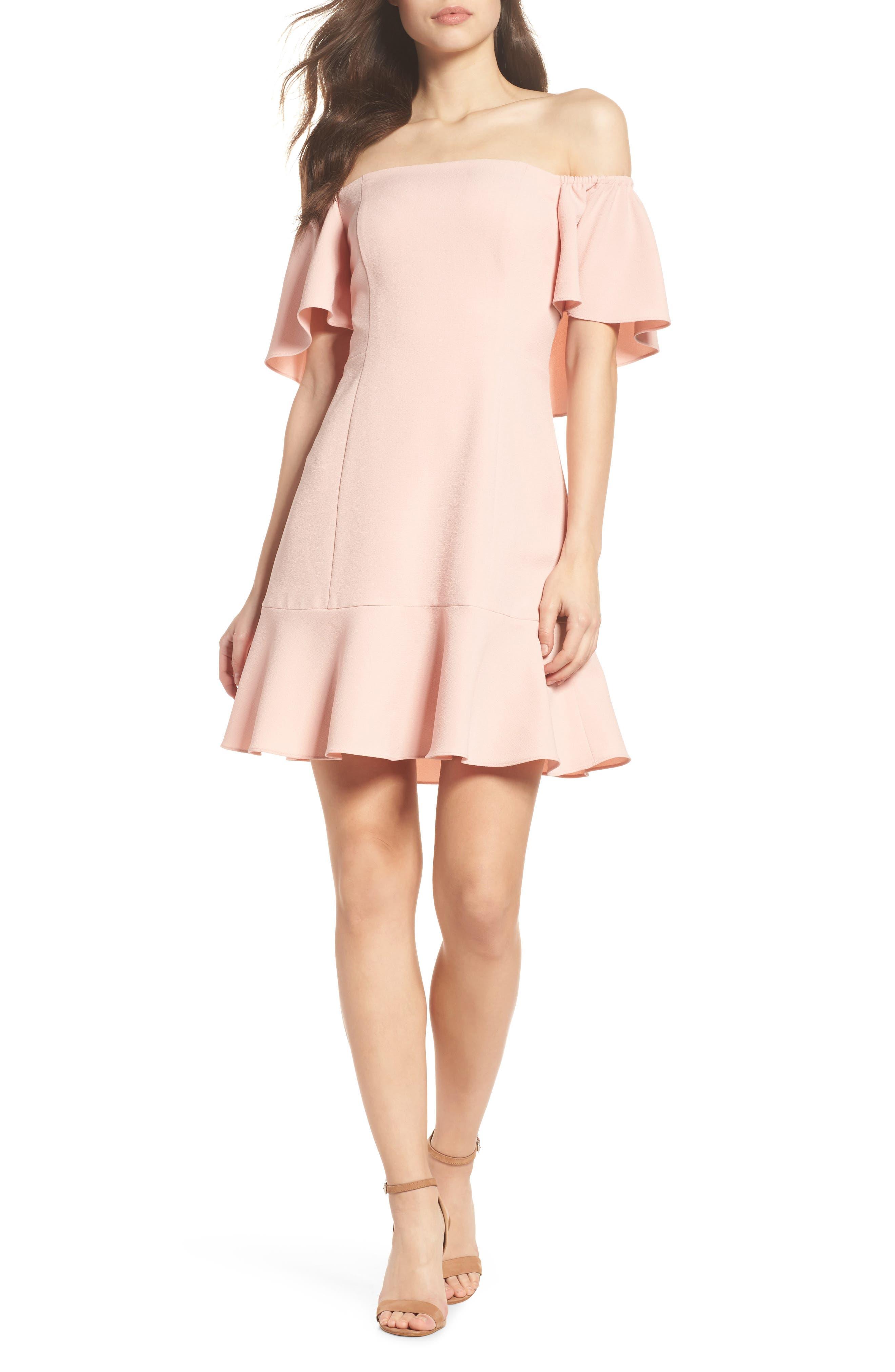 Off the Shoulder Dress,                         Main,                         color, Blush