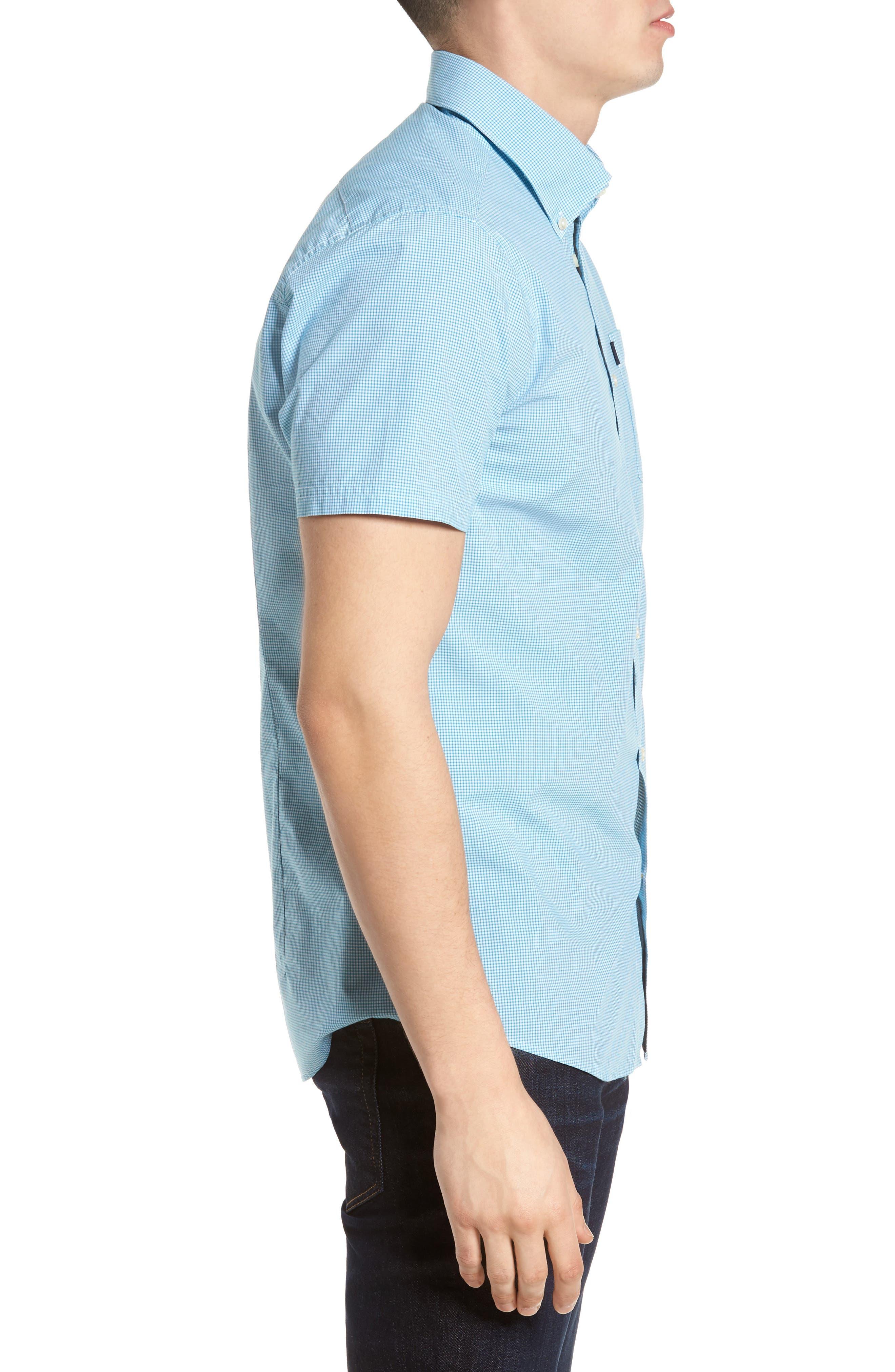 Triston Regular Fit Check Sport Shirt,                             Alternate thumbnail 3, color,                             Turquoise