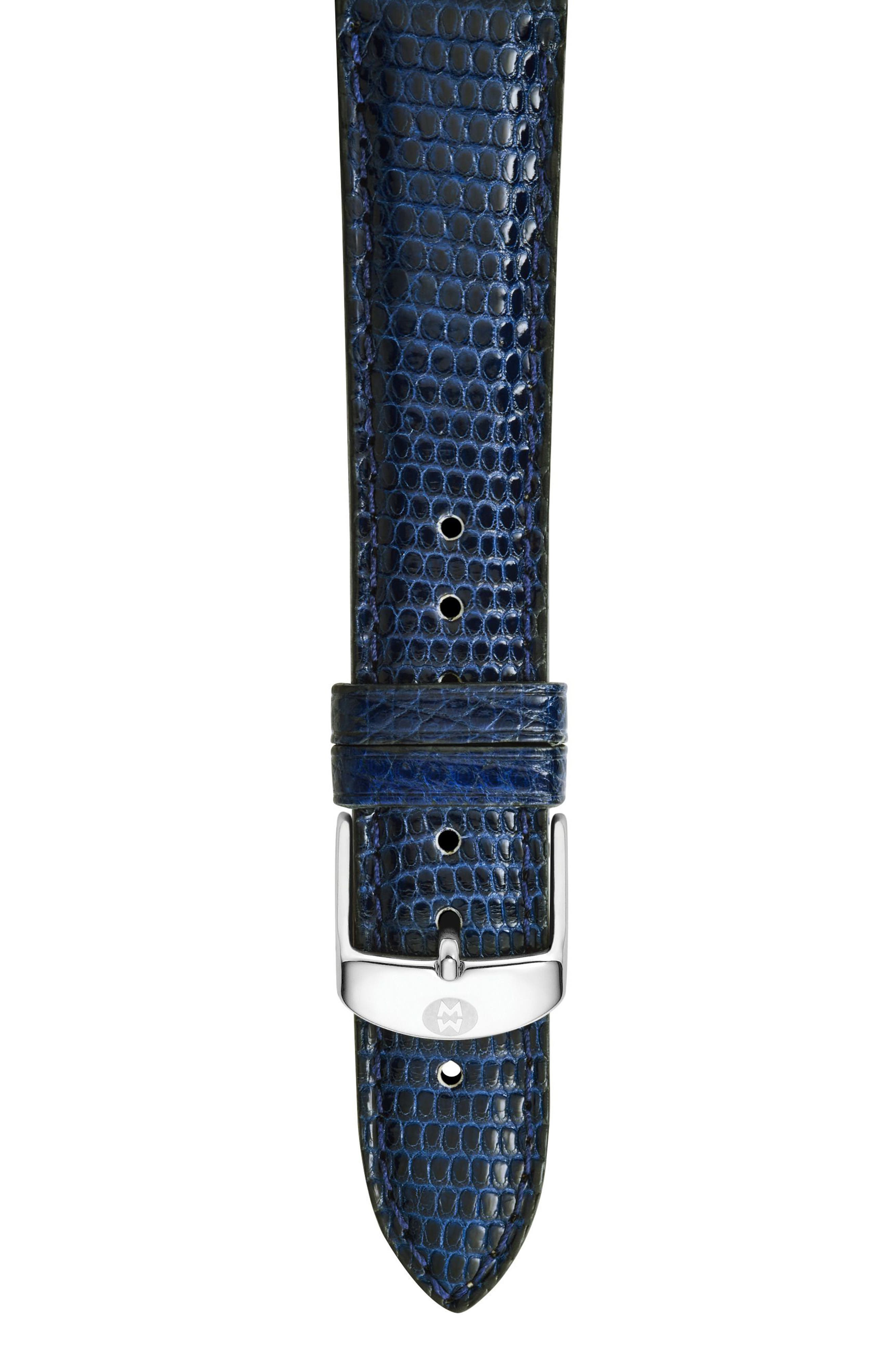 16mm Lizardskin Watch Strap,                             Main thumbnail 1, color,                             Navy