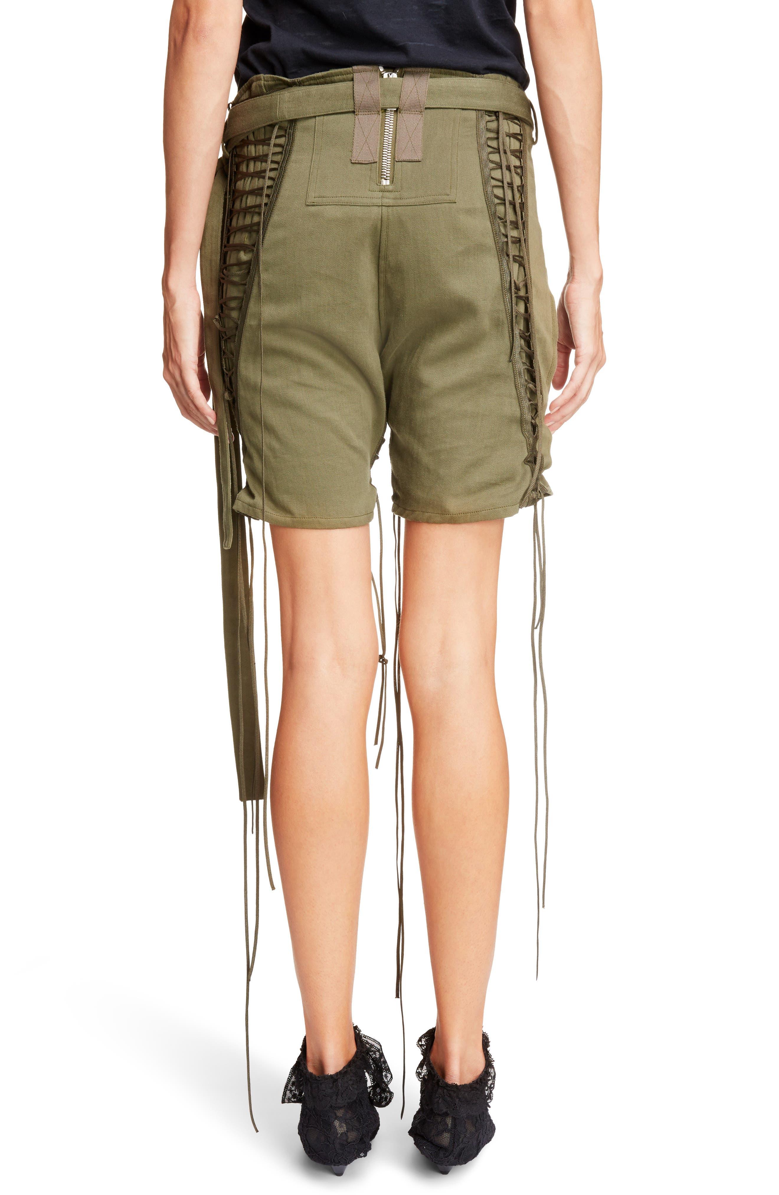 Laced Cotton & Linen Shorts,                             Alternate thumbnail 4, color,                             Kaki