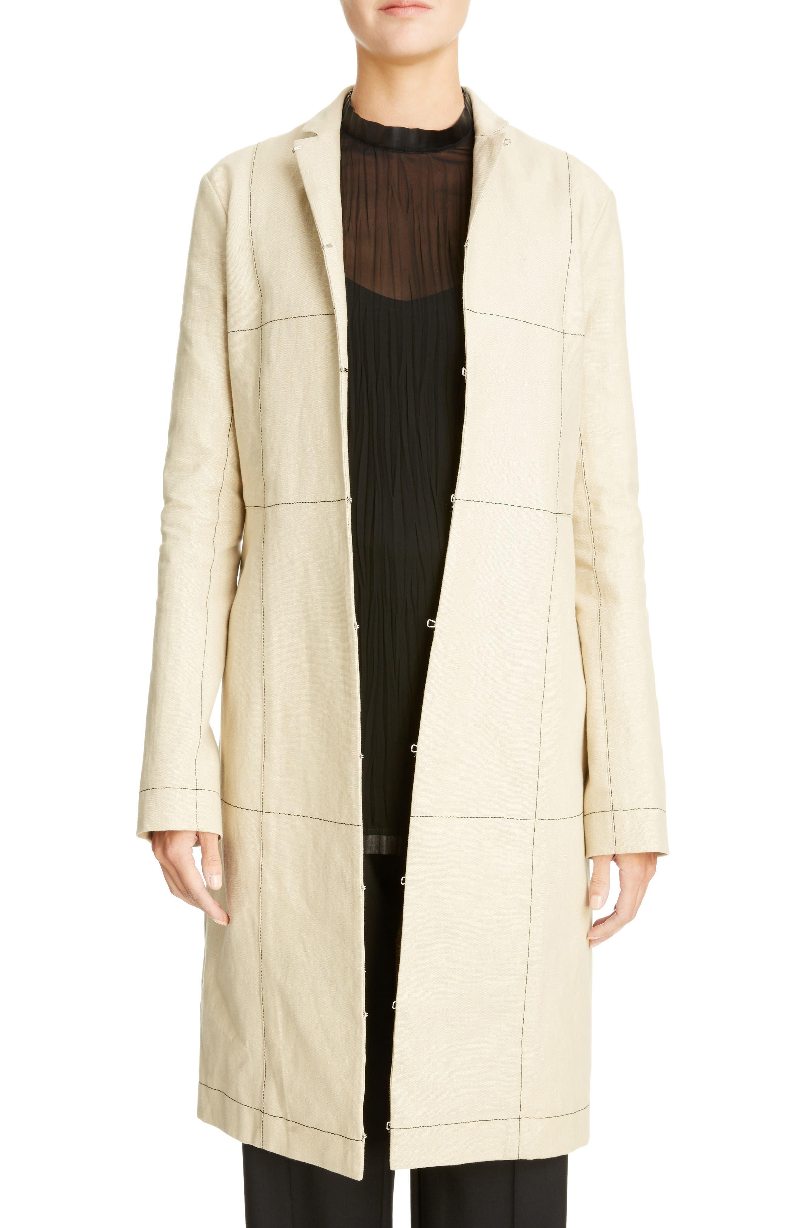 Topstitched Linen Coat,                             Main thumbnail 1, color,                             Beige