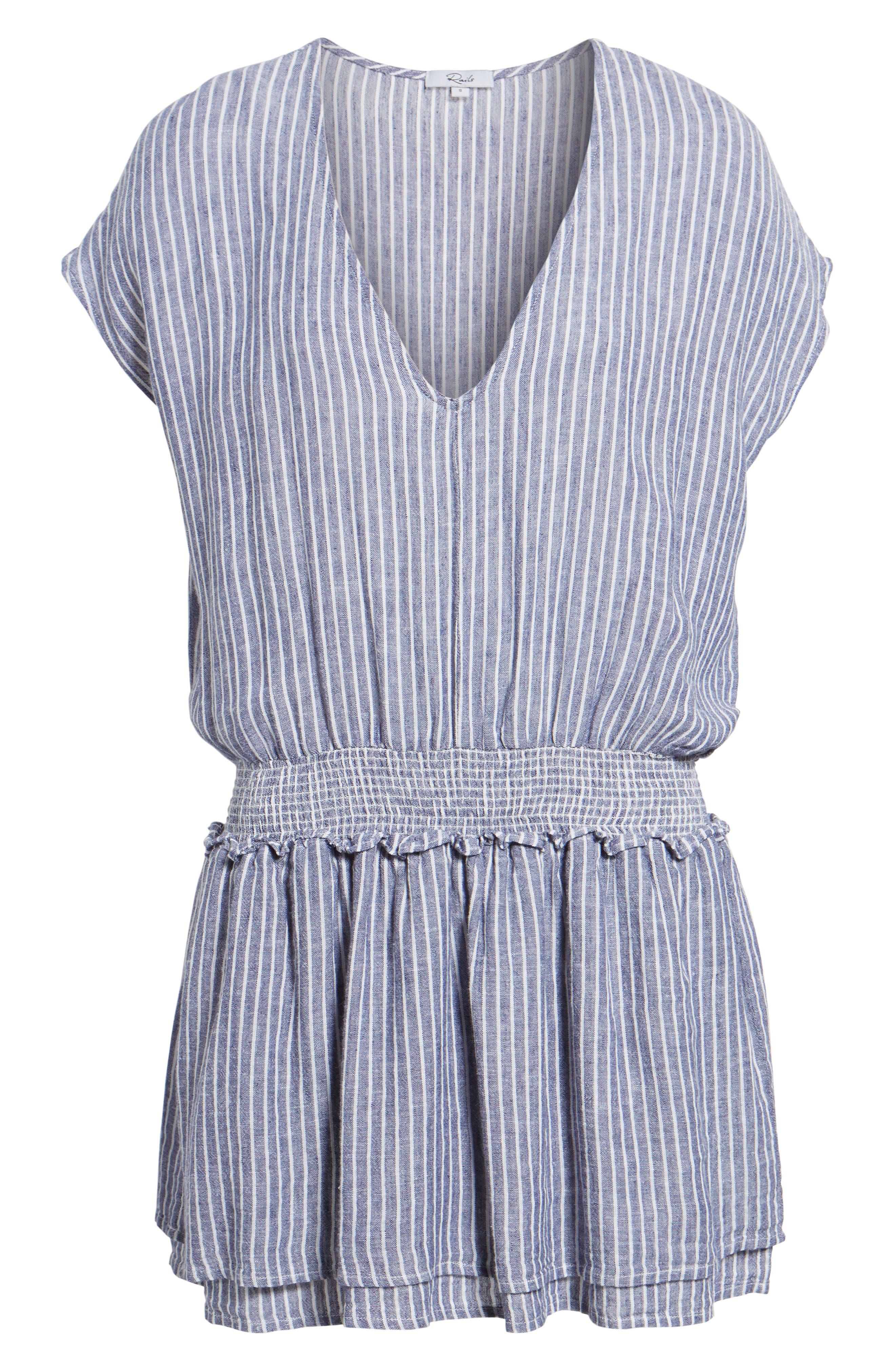 Lucca Linen Blend Dress,                             Alternate thumbnail 6, color,                             Terrenas Stripe