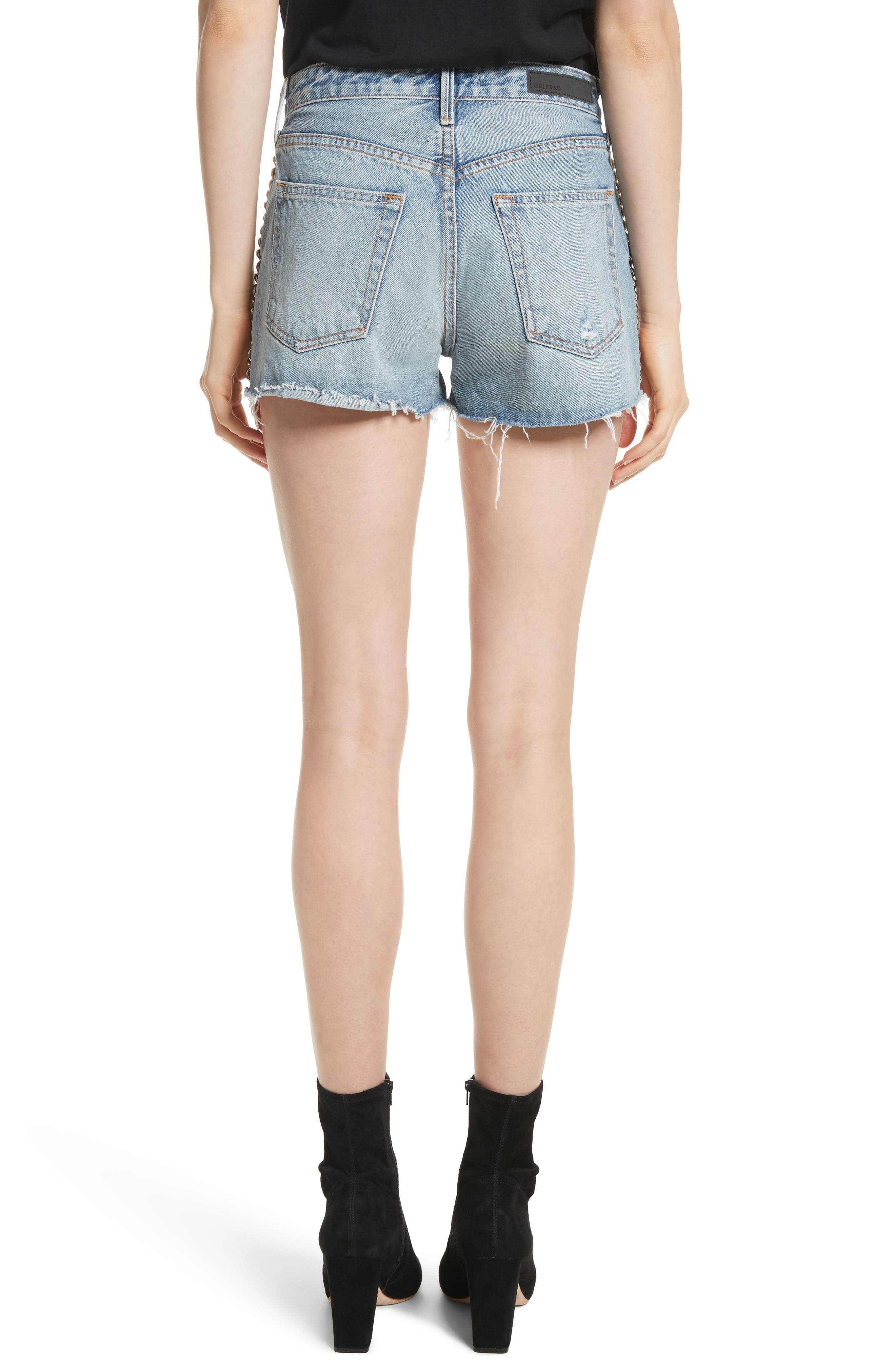 Cindy Rigid High Waist Denim Shorts,                             Alternate thumbnail 2, color,                             Cast Iron
