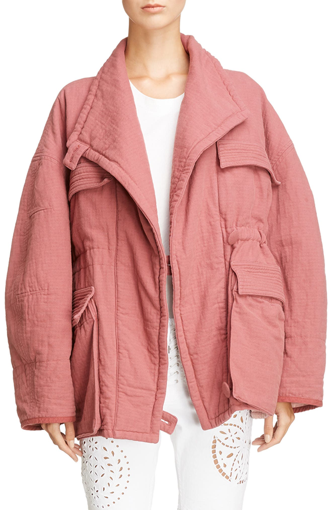 Oversize Textured Cotton Jacket,                         Main,                         color, Rosewood