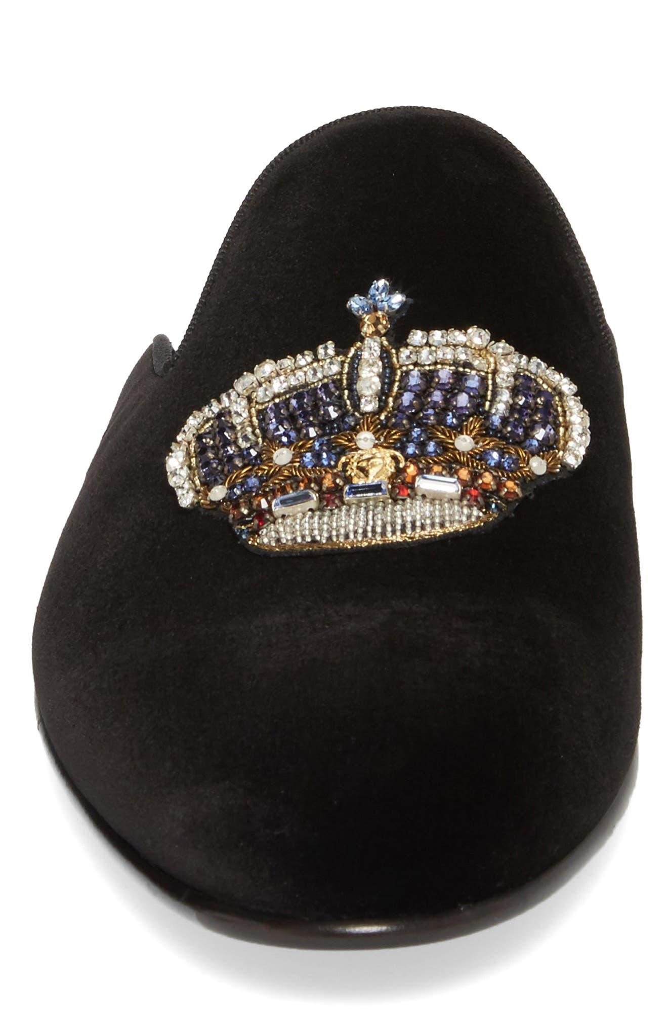 Gianni Embellished Crown Loafer Mule,                             Alternate thumbnail 4, color,                             Black Warm Gold