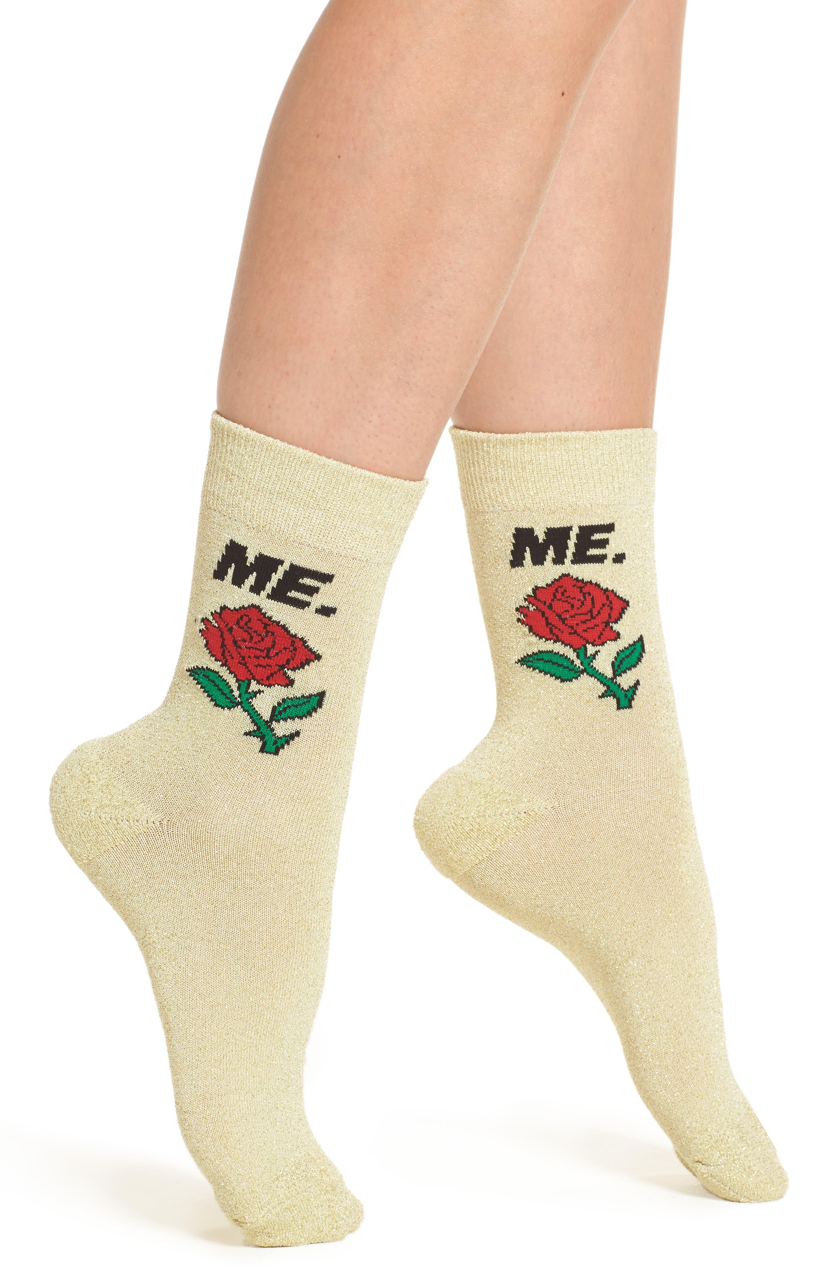 ME Rose Glitter Socks,                             Main thumbnail 1, color,                             Gold