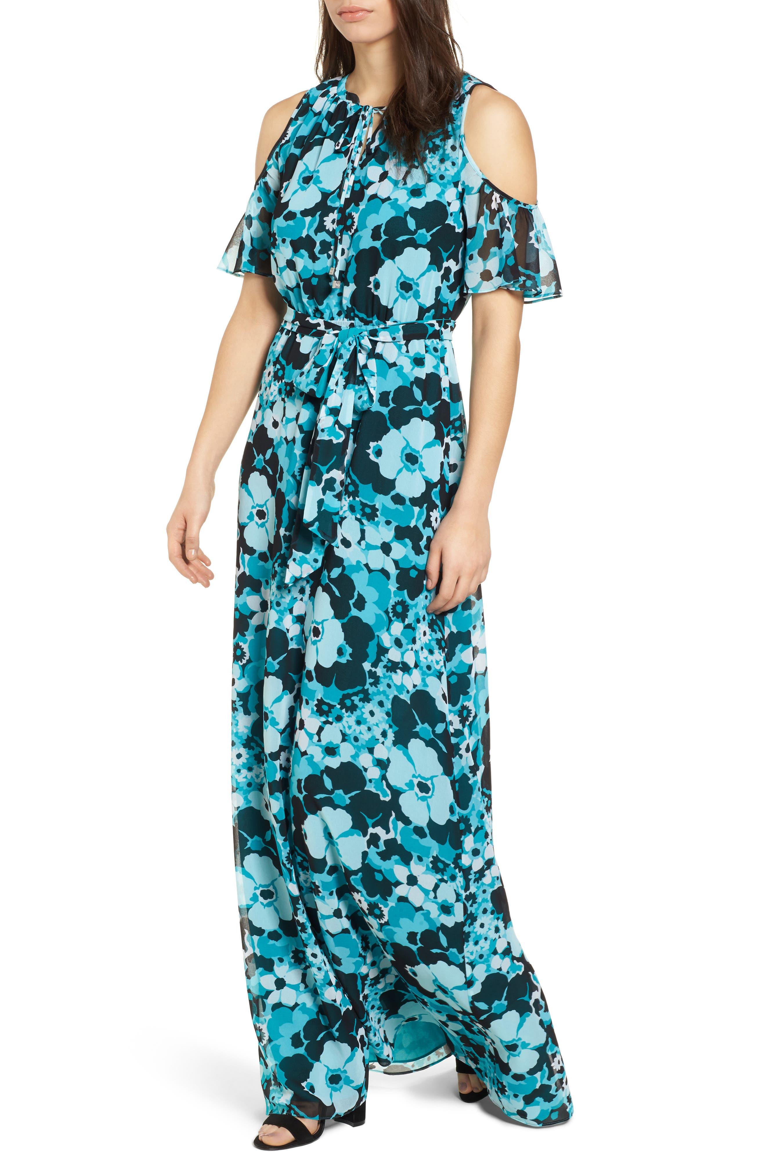 Spring Floral Maxi Dress,                             Main thumbnail 1, color,                             Tile Blue/ Black Multi