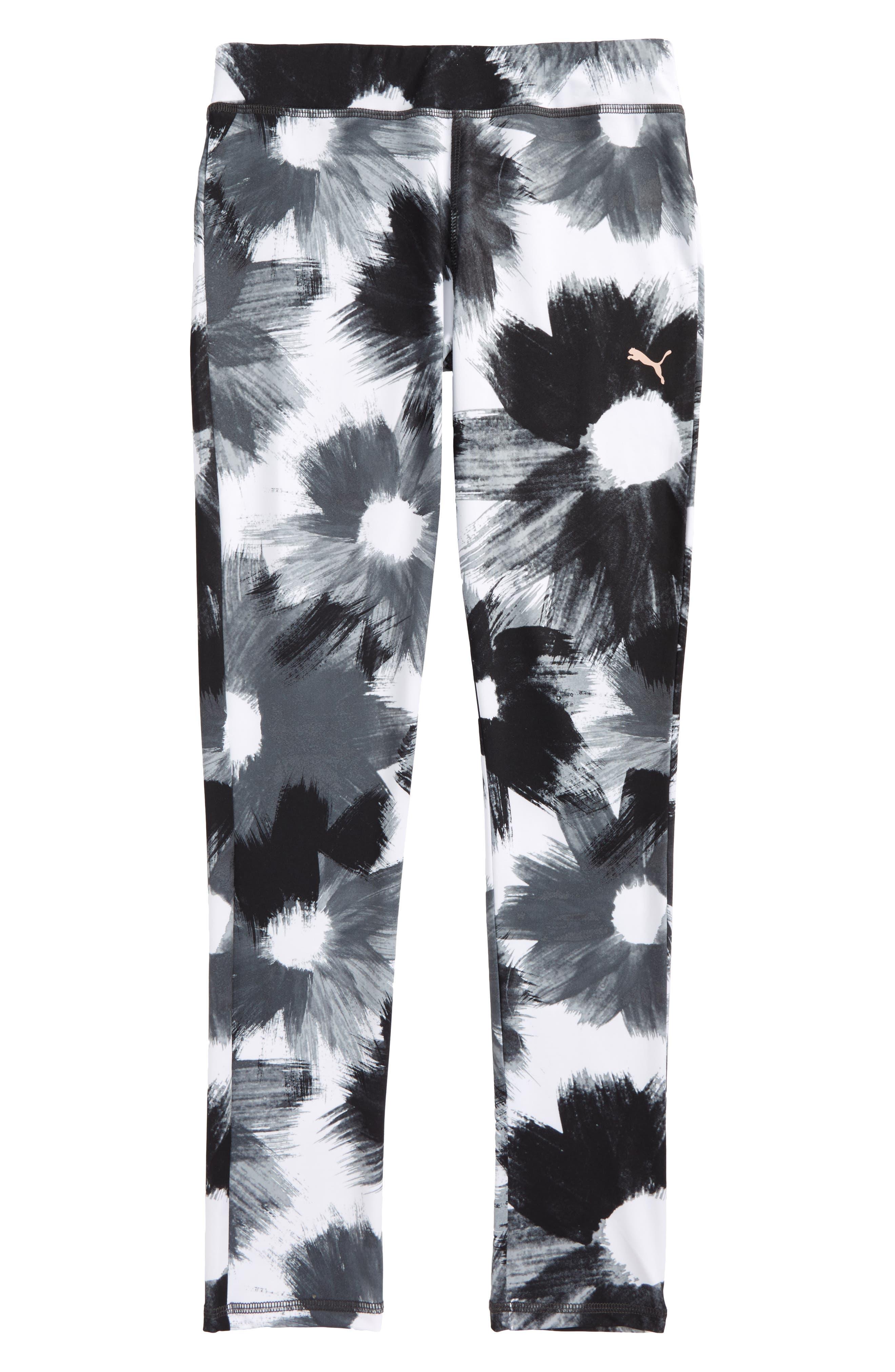 Brushstroke Print Leggings,                             Main thumbnail 1, color,                             Puma White