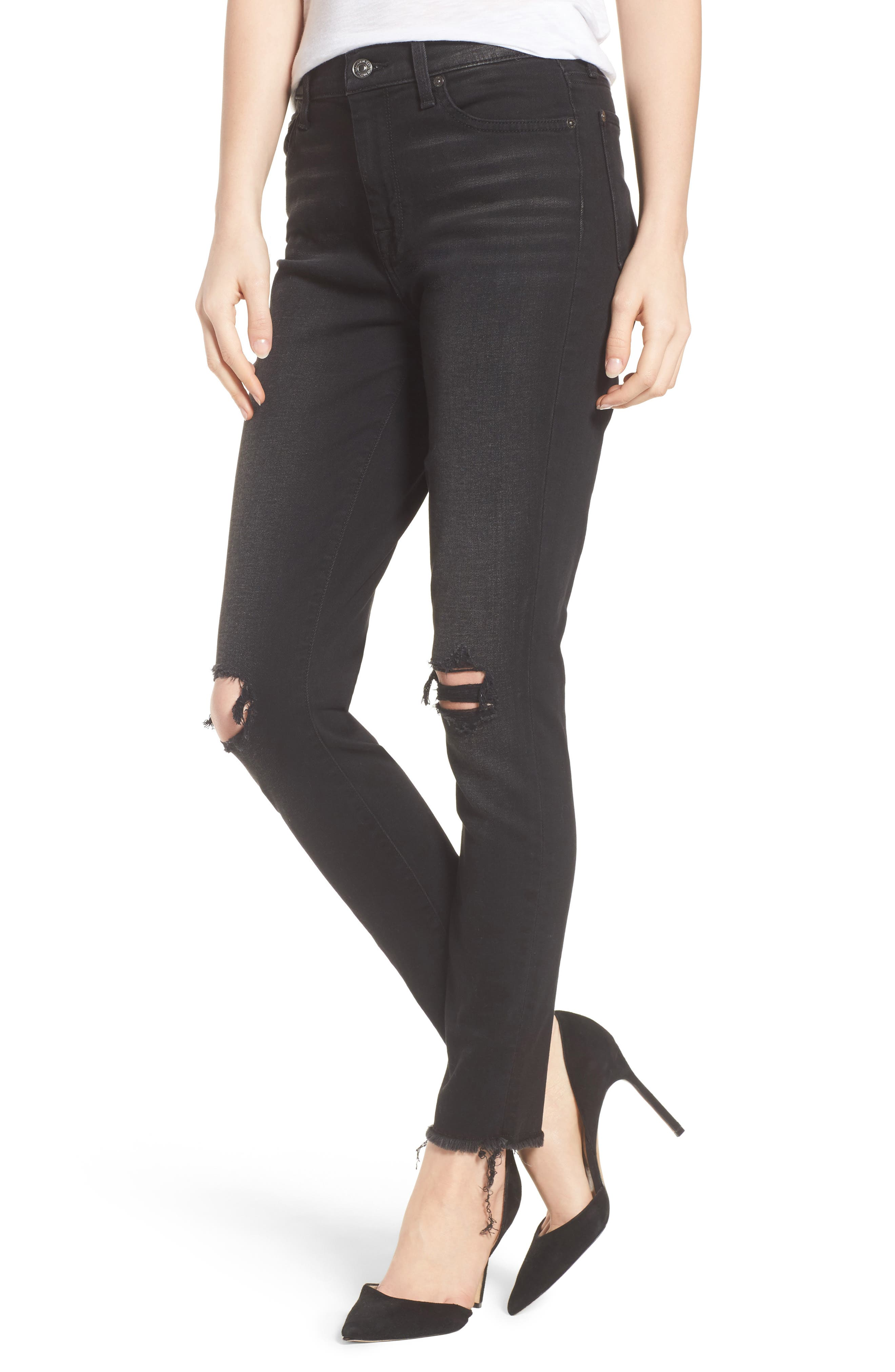 Alternate Image 1 Selected - 7 For All Mankind® Aubrey High Waist Skinny Jeans (Aged Onyx 3)