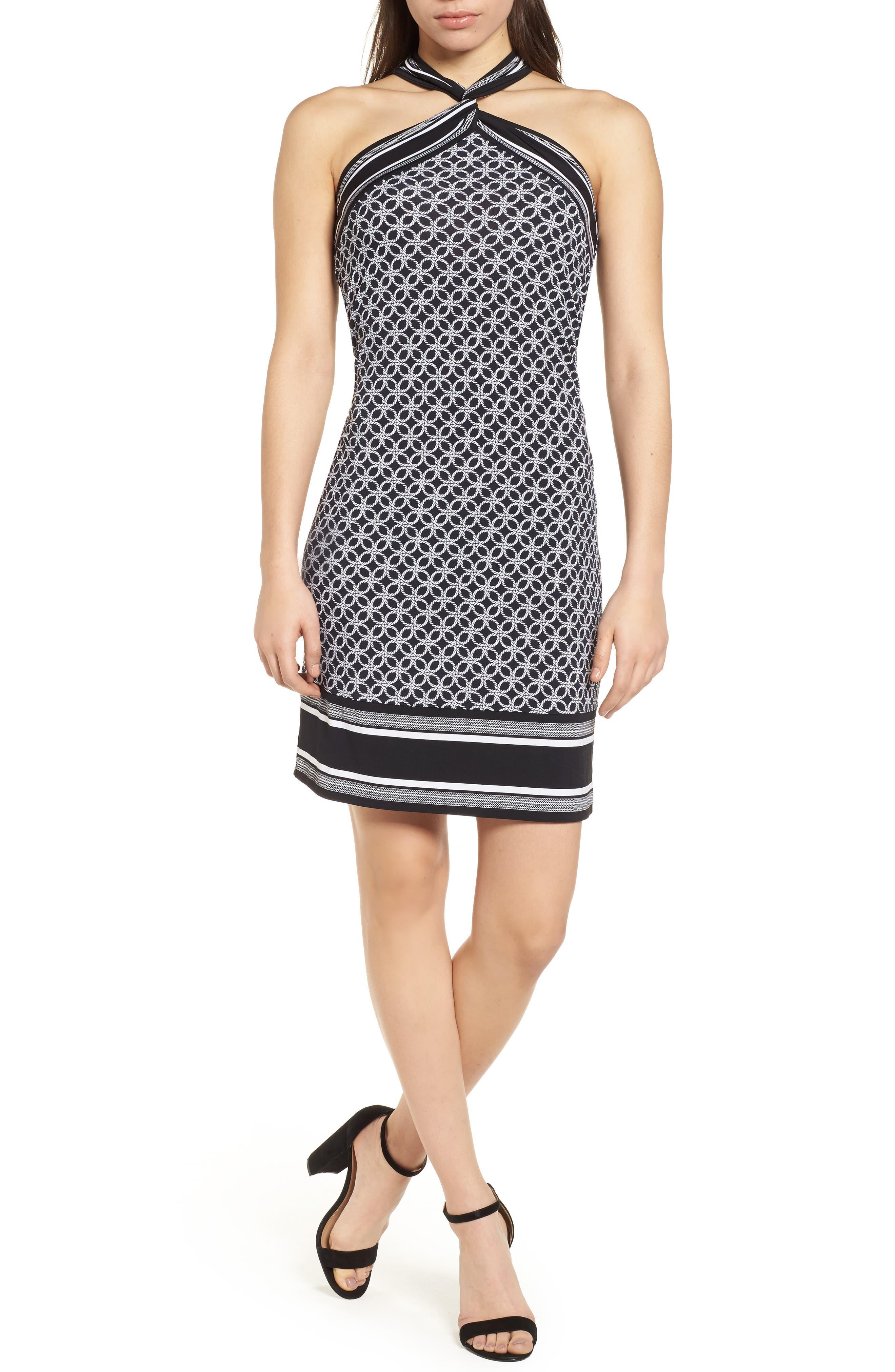 Rope Twist Body-Con Dress,                             Main thumbnail 1, color,                             Black/ White