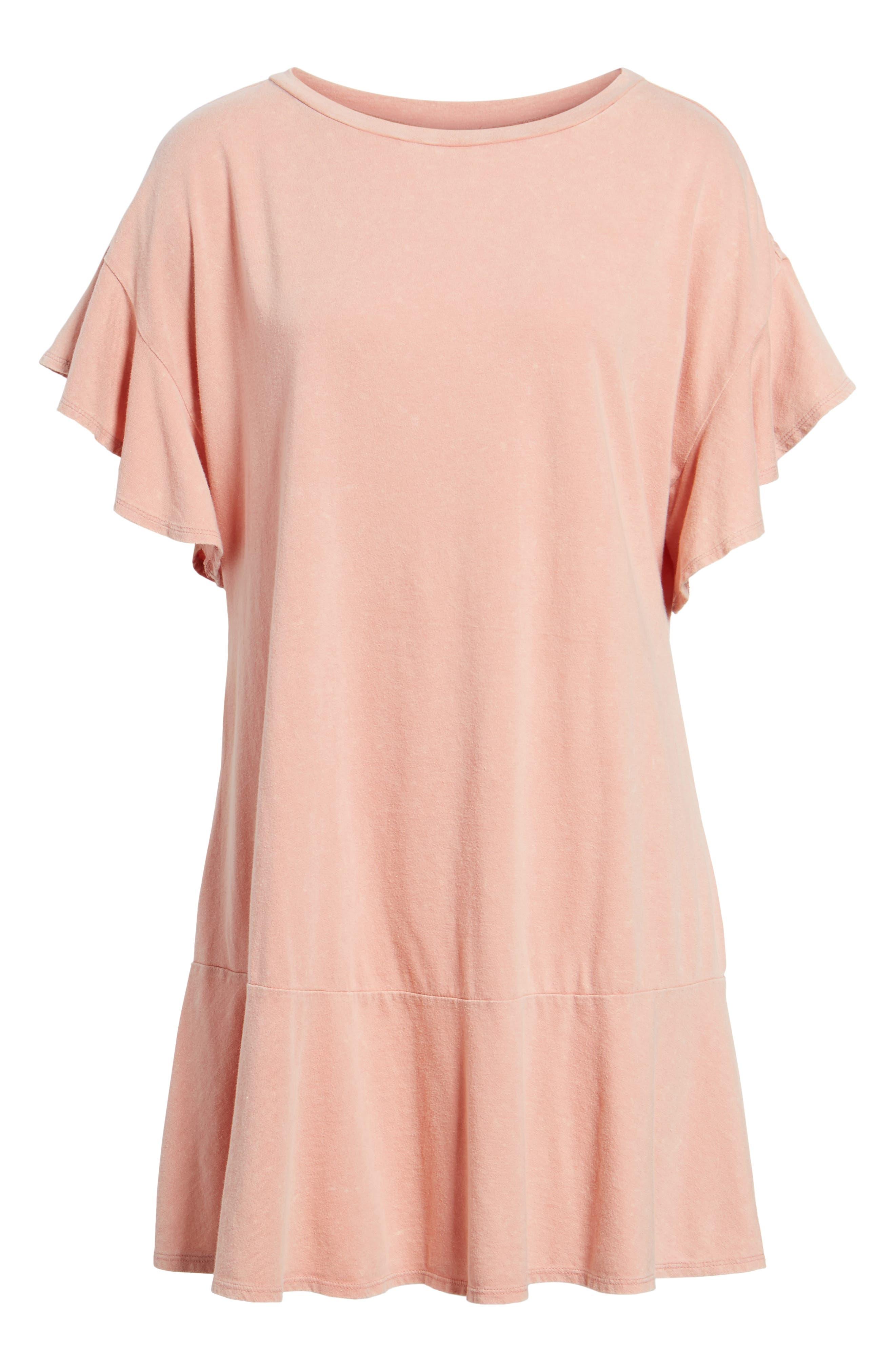 Stonewash Ruffle Trim Dress,                             Alternate thumbnail 6, color,                             Pink Dawn