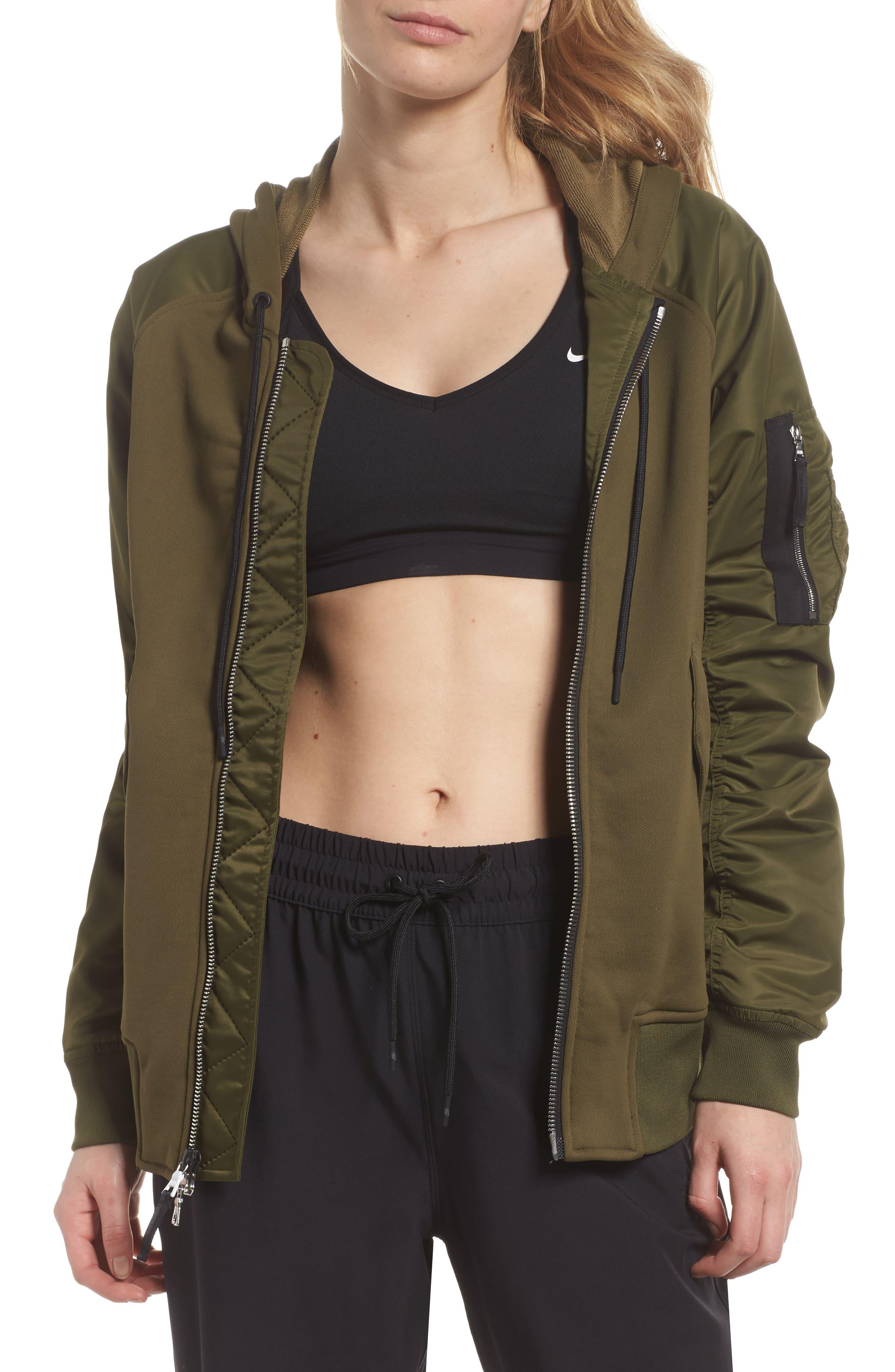 NikeLab Women's Mixed Media Bomber Jacket,                             Main thumbnail 1, color,                             Olive Canvas/ Black