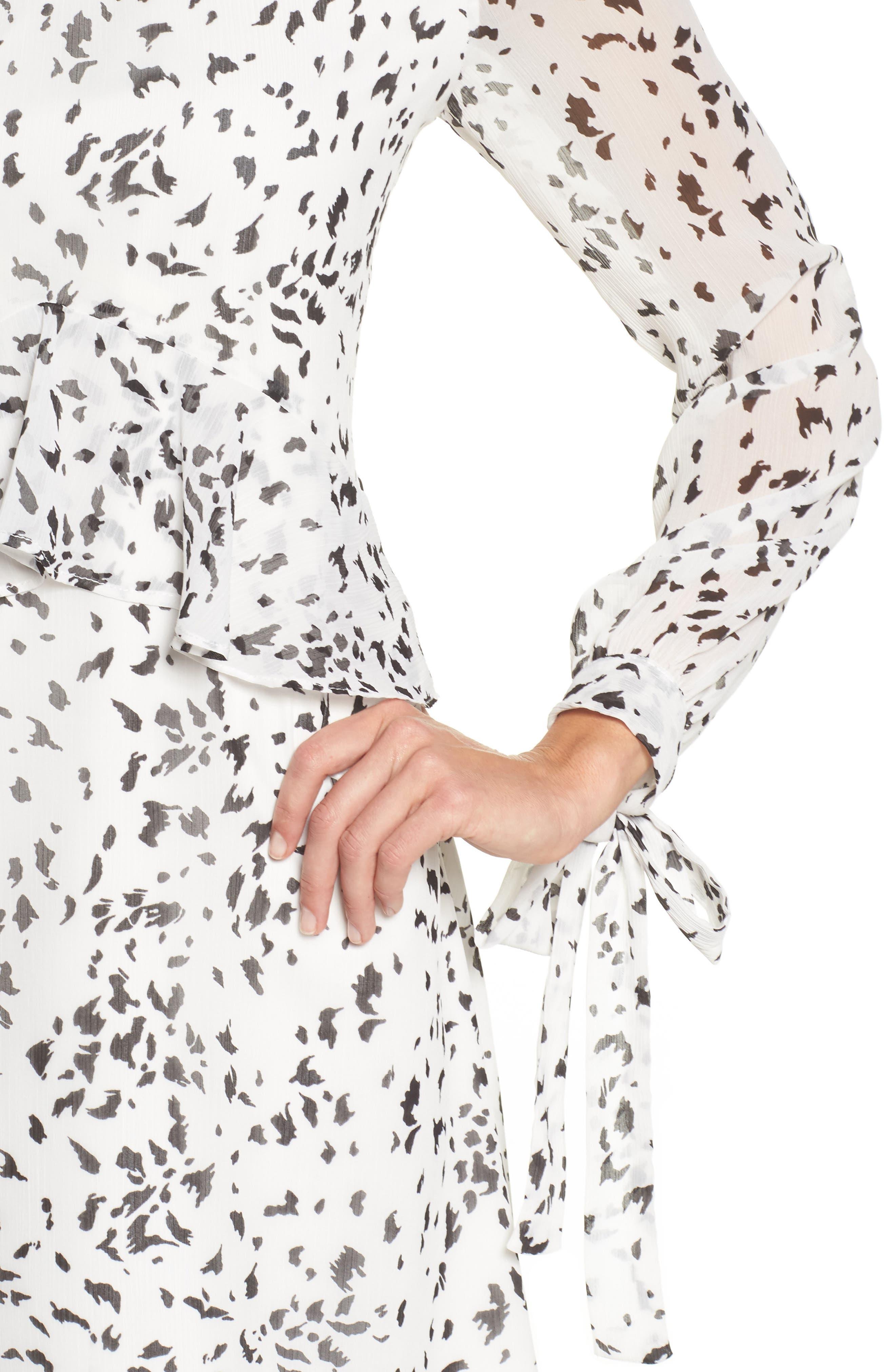 Print Ruffle Dress,                             Alternate thumbnail 4, color,                             White/ Black