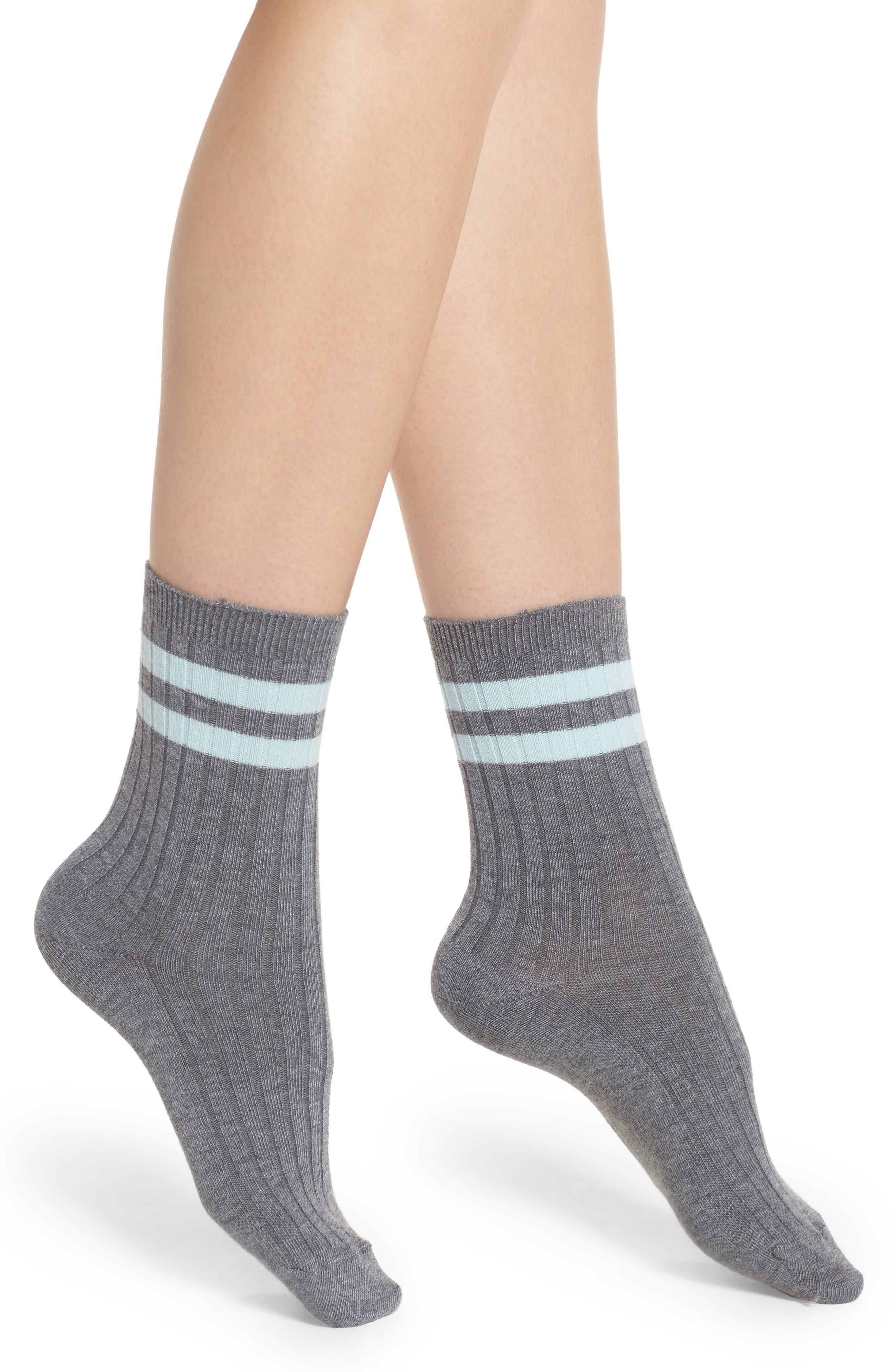 Main Image - Nordstrom Varsity Stripe Ankle Socks