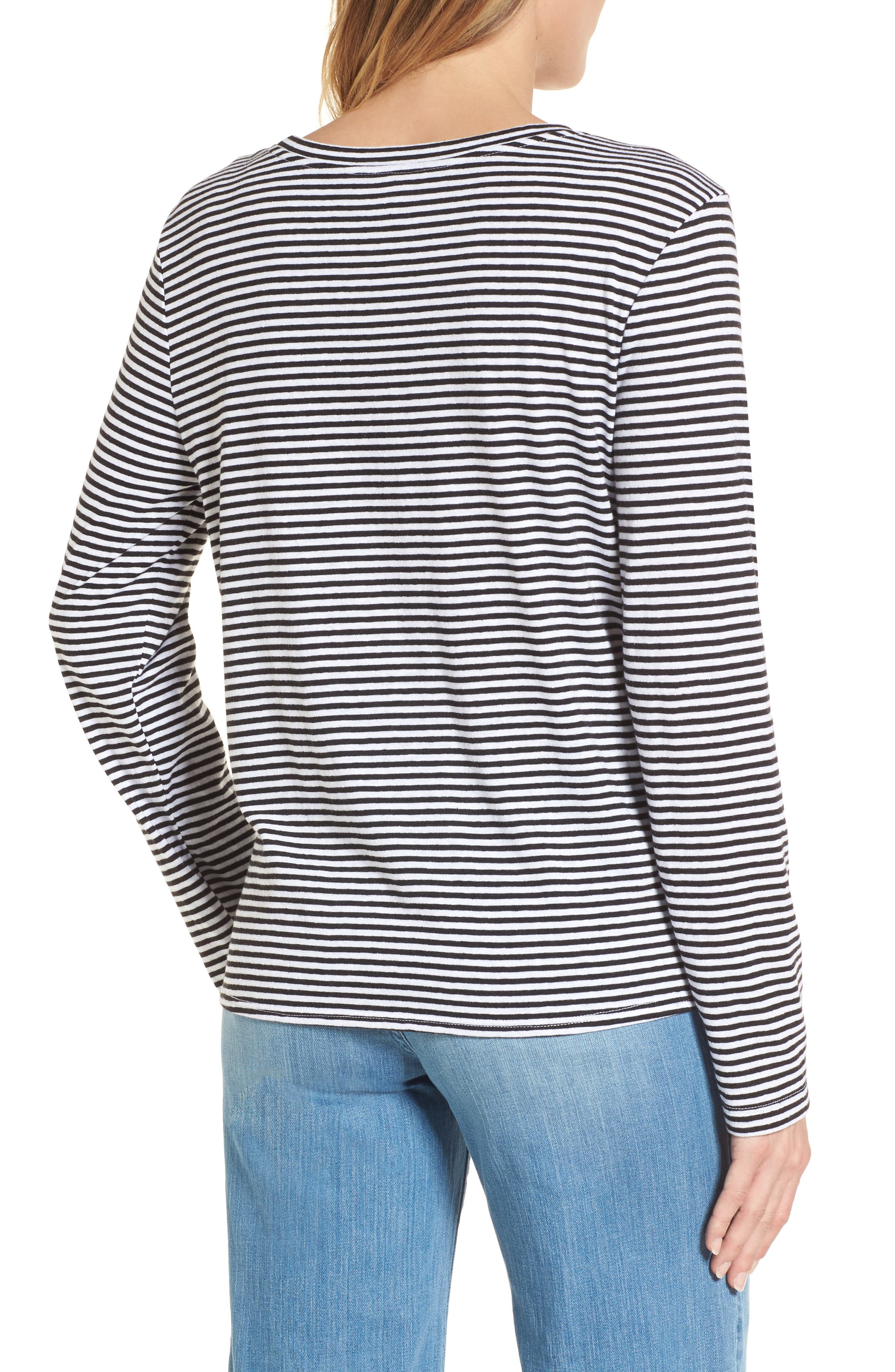 Long Sleeve Front Knot Tee,                             Alternate thumbnail 2, color,                             Black- White Even Stripe