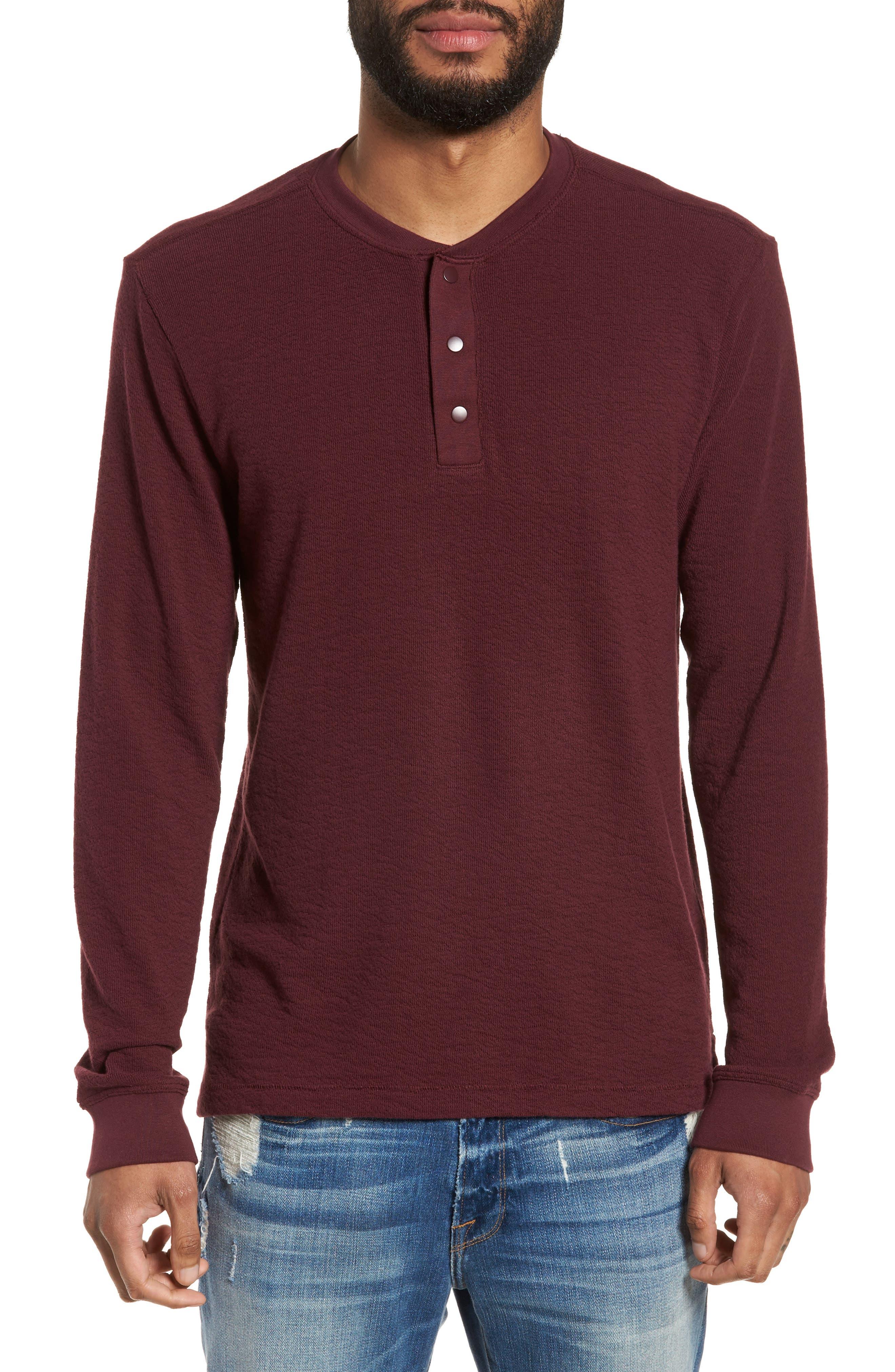 Canyon Long Sleeve Henley T-Shirt,                         Main,                         color, Burgundy Stem