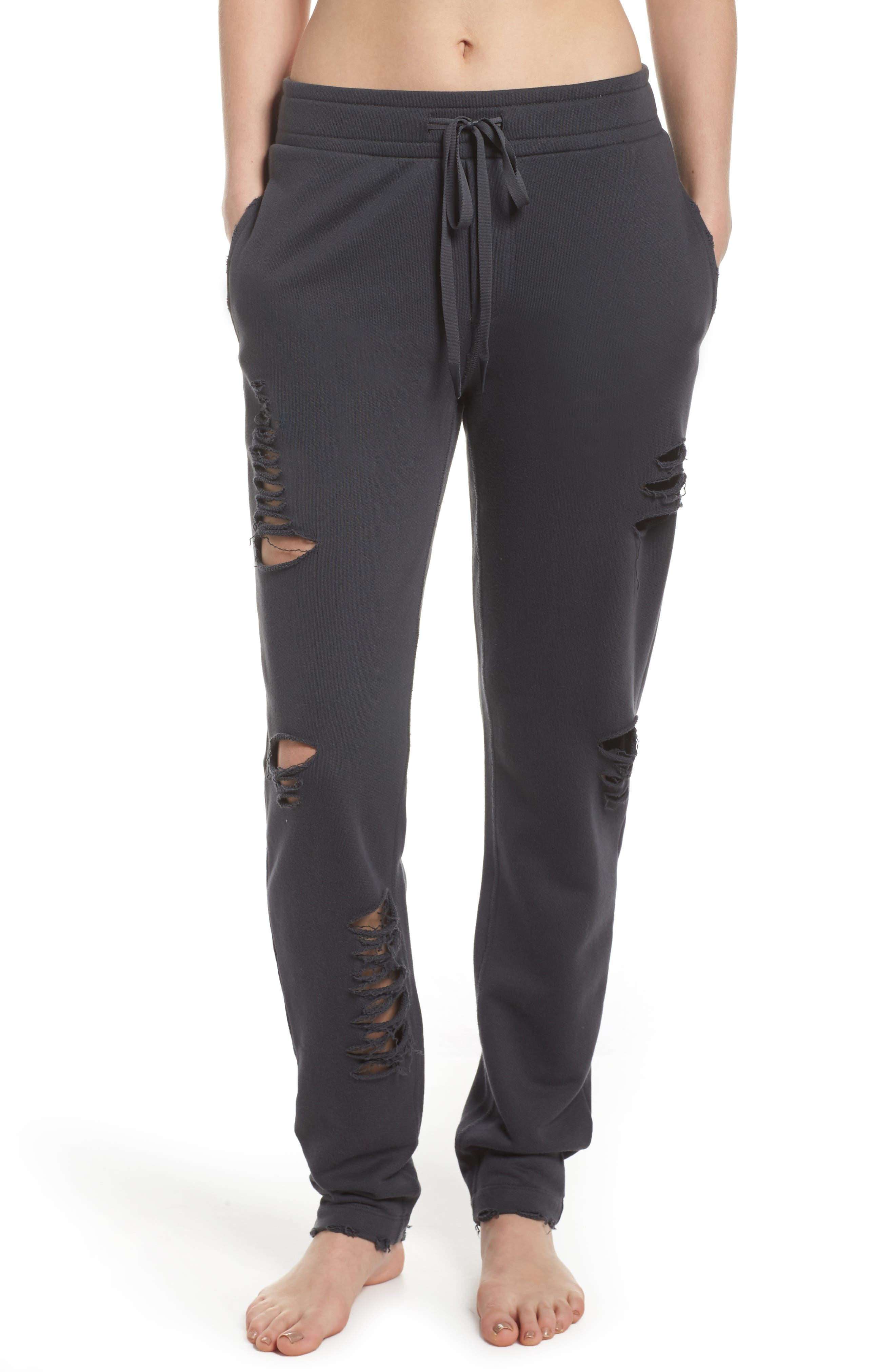 Ripped Sweatpants,                             Main thumbnail 1, color,                             Anthracite