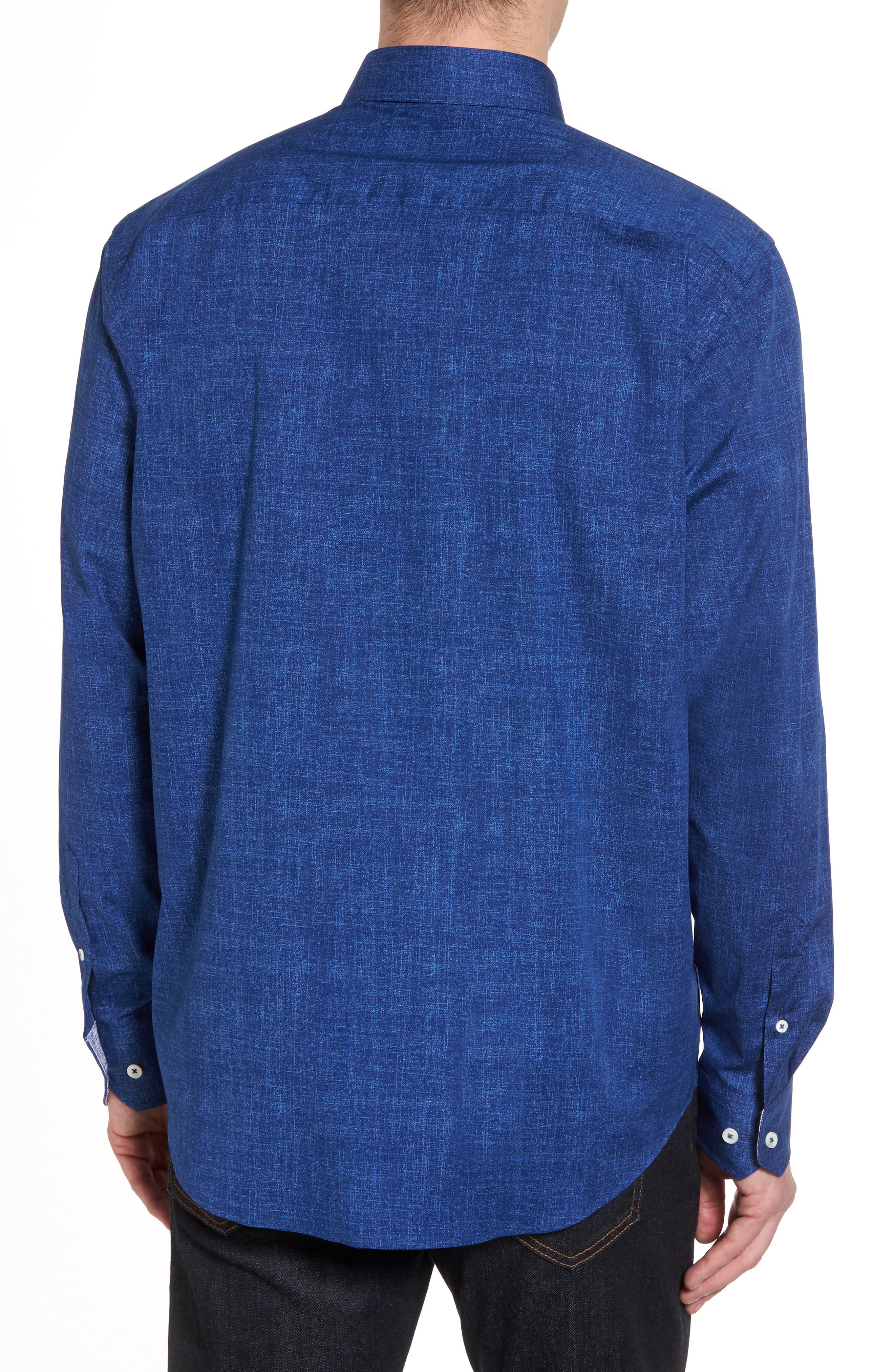 Chambray Print Classic Fit Sport Shirt,                             Alternate thumbnail 2, color,                             Navy
