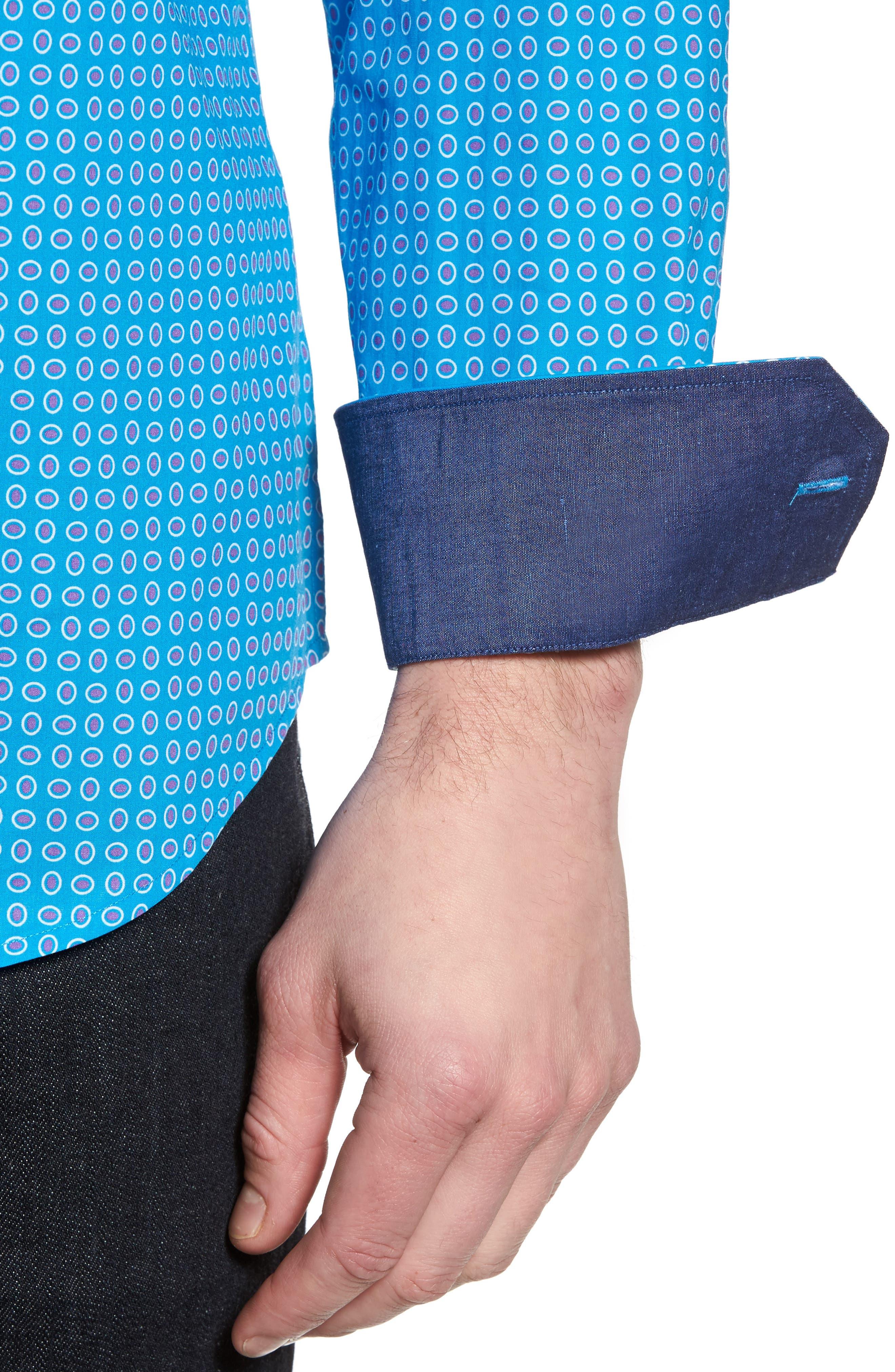 Woven Sport Shirt,                             Alternate thumbnail 4, color,                             Turquoise