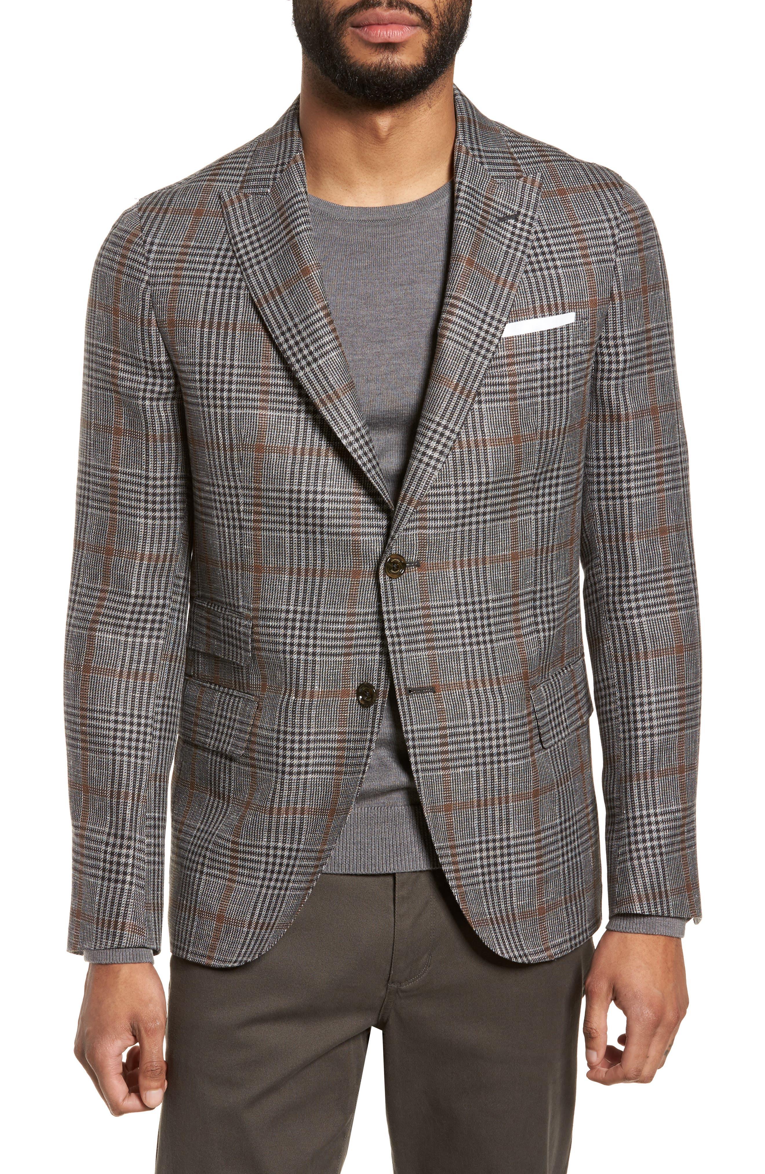 Trim Fit Plaid Linen Blend Sport Coat,                         Main,                         color, Light Grey