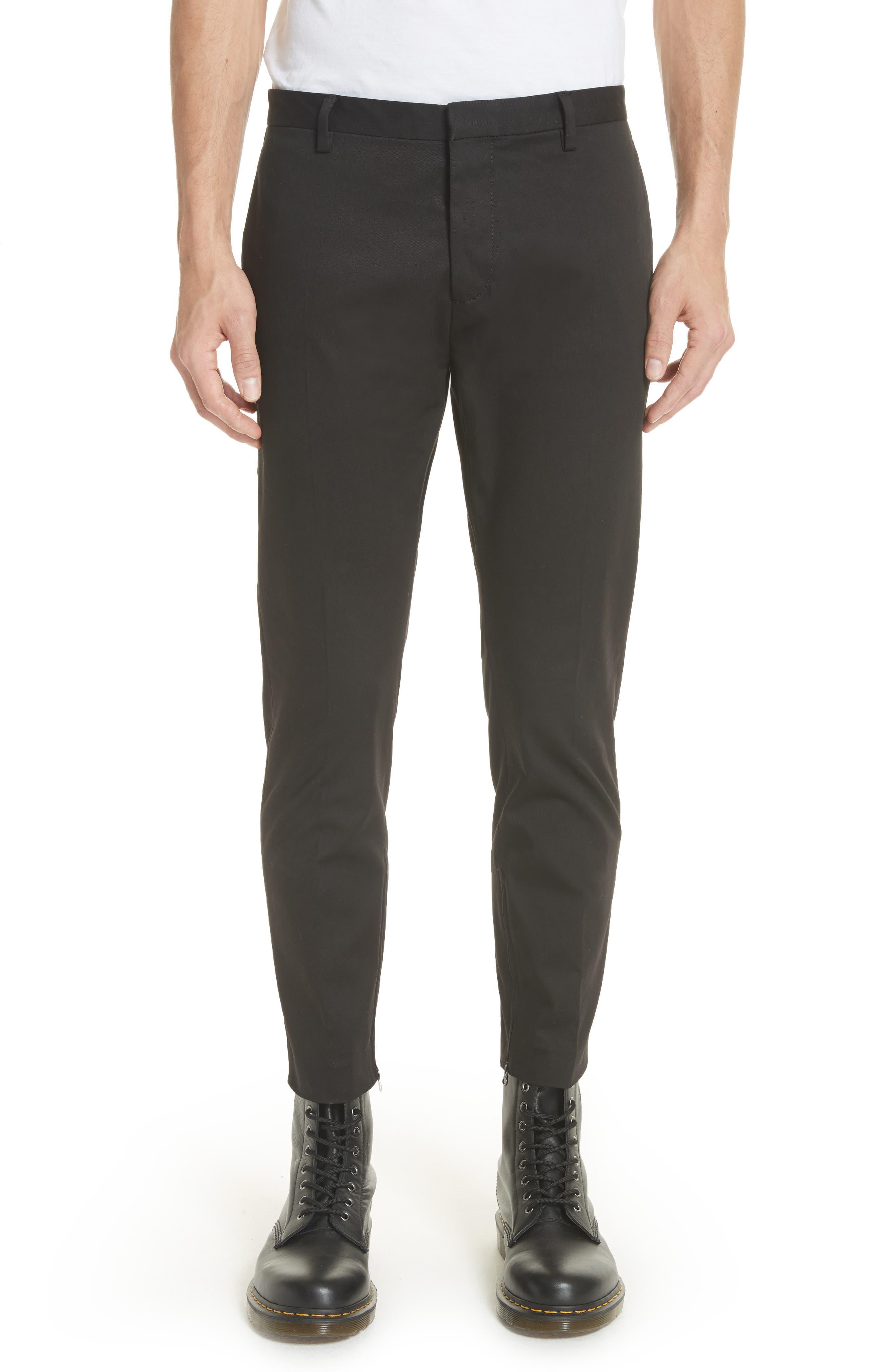 Dan Skinny Fit Cropped Trousers,                             Main thumbnail 1, color,                             Black