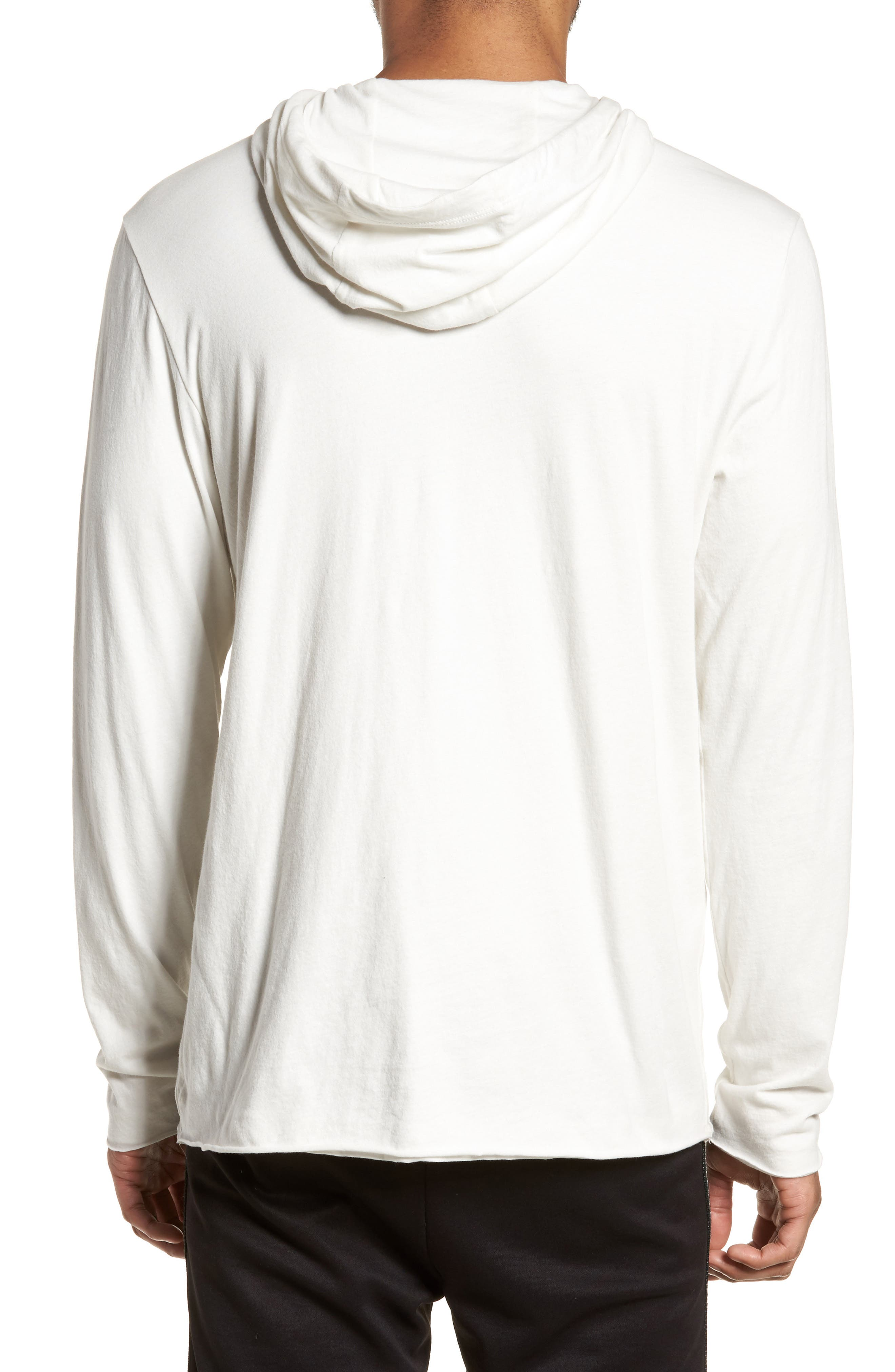 Layered Long Sleeve Pullover Hoodie,                             Alternate thumbnail 2, color,                             Optic White