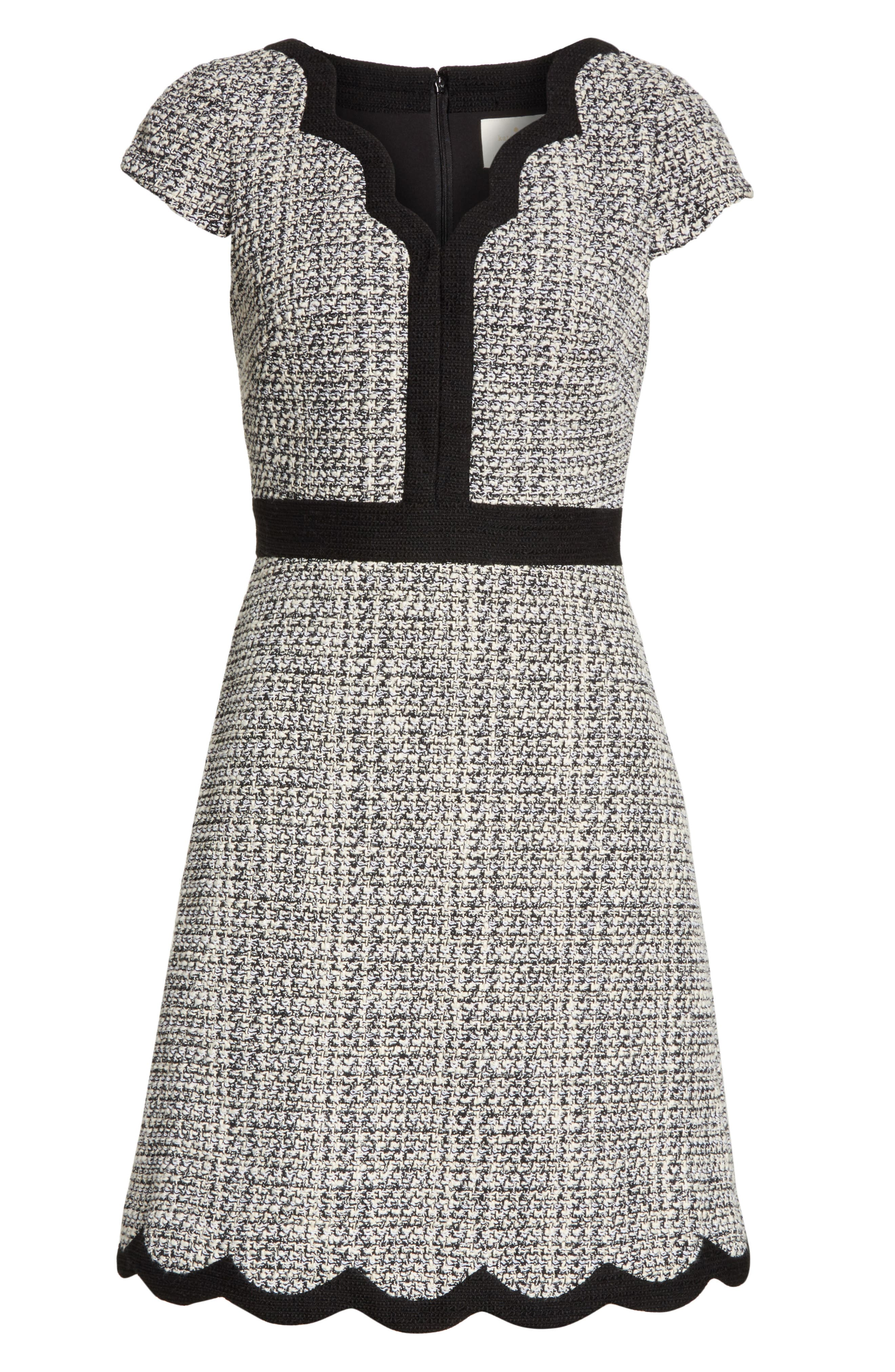 scallop tweed dress,                             Alternate thumbnail 6, color,                             Black/ Cream