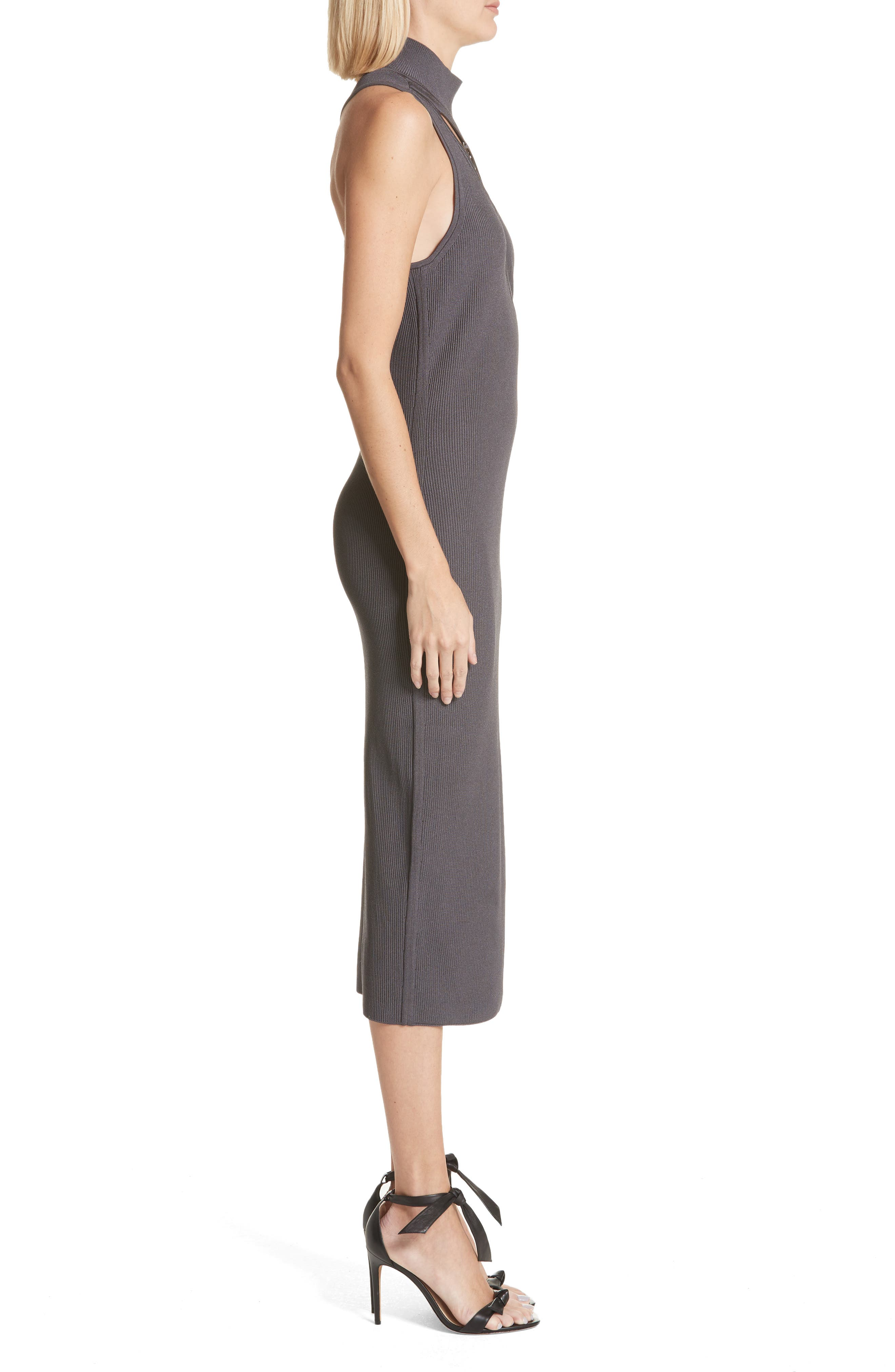 Alsia Cutout Knit Dress,                             Alternate thumbnail 3, color,                             Graphite/ Gunmetal