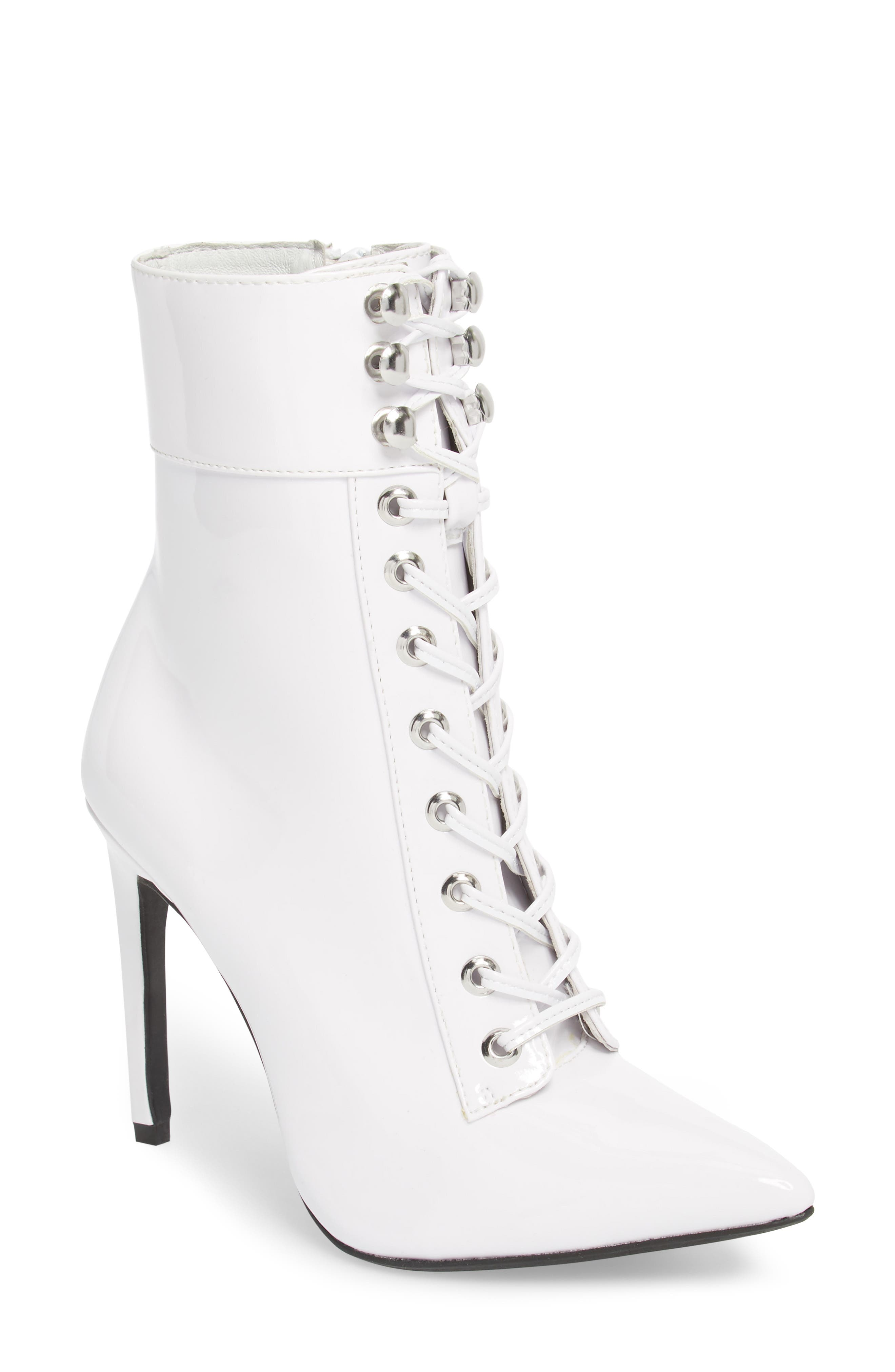 Elphaba-3 Bootie,                             Main thumbnail 1, color,                             White Patent