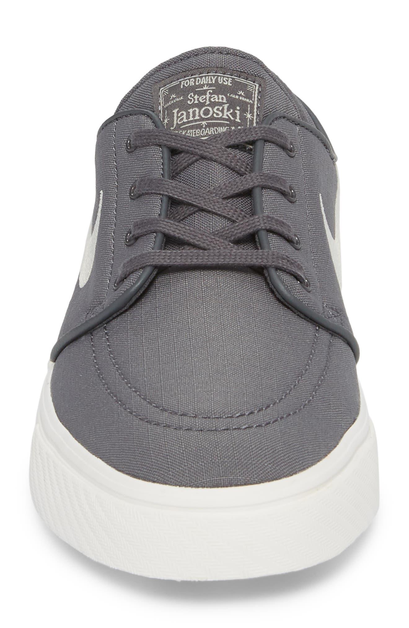 'Zoom - Stefan Janoski SB' Canvas Skate Shoe,                             Alternate thumbnail 4, color,                             Dark Grey/ Bone/ White/ Black